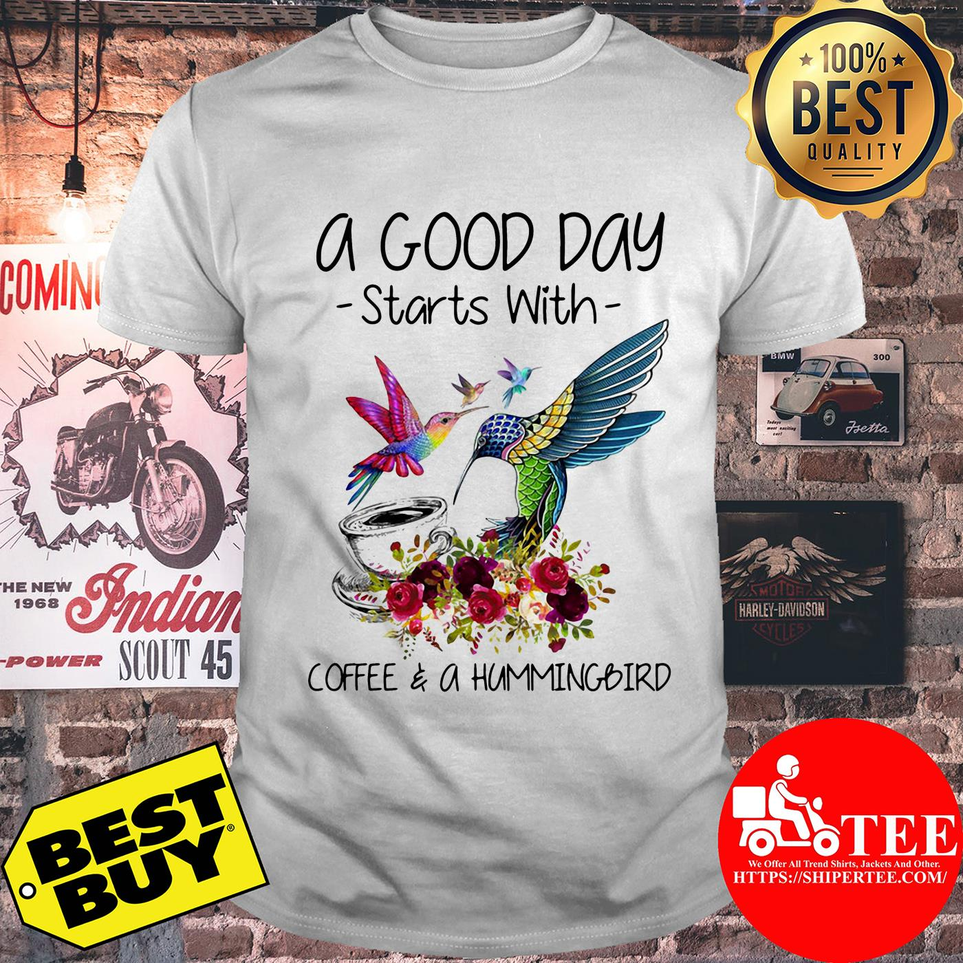 A good way start with coffee and a hummingbird flowers shirt