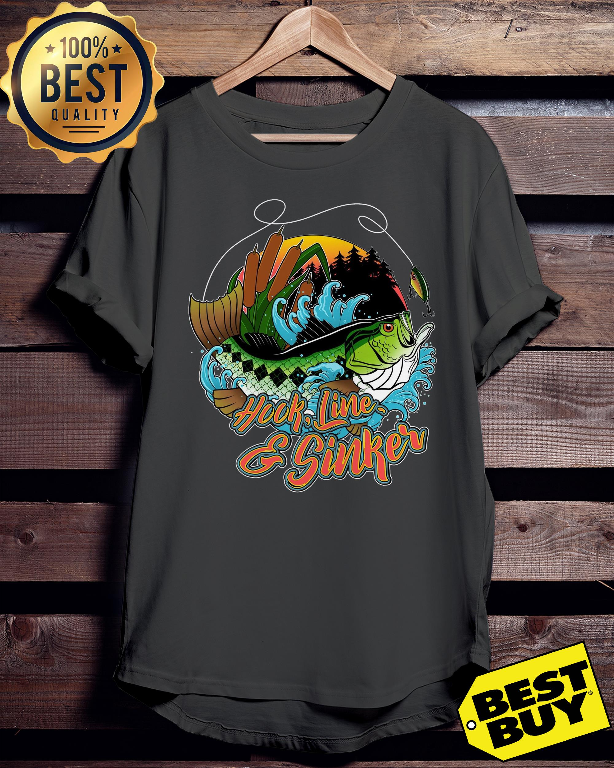 Hook line and sinker forest and sea ladies tee