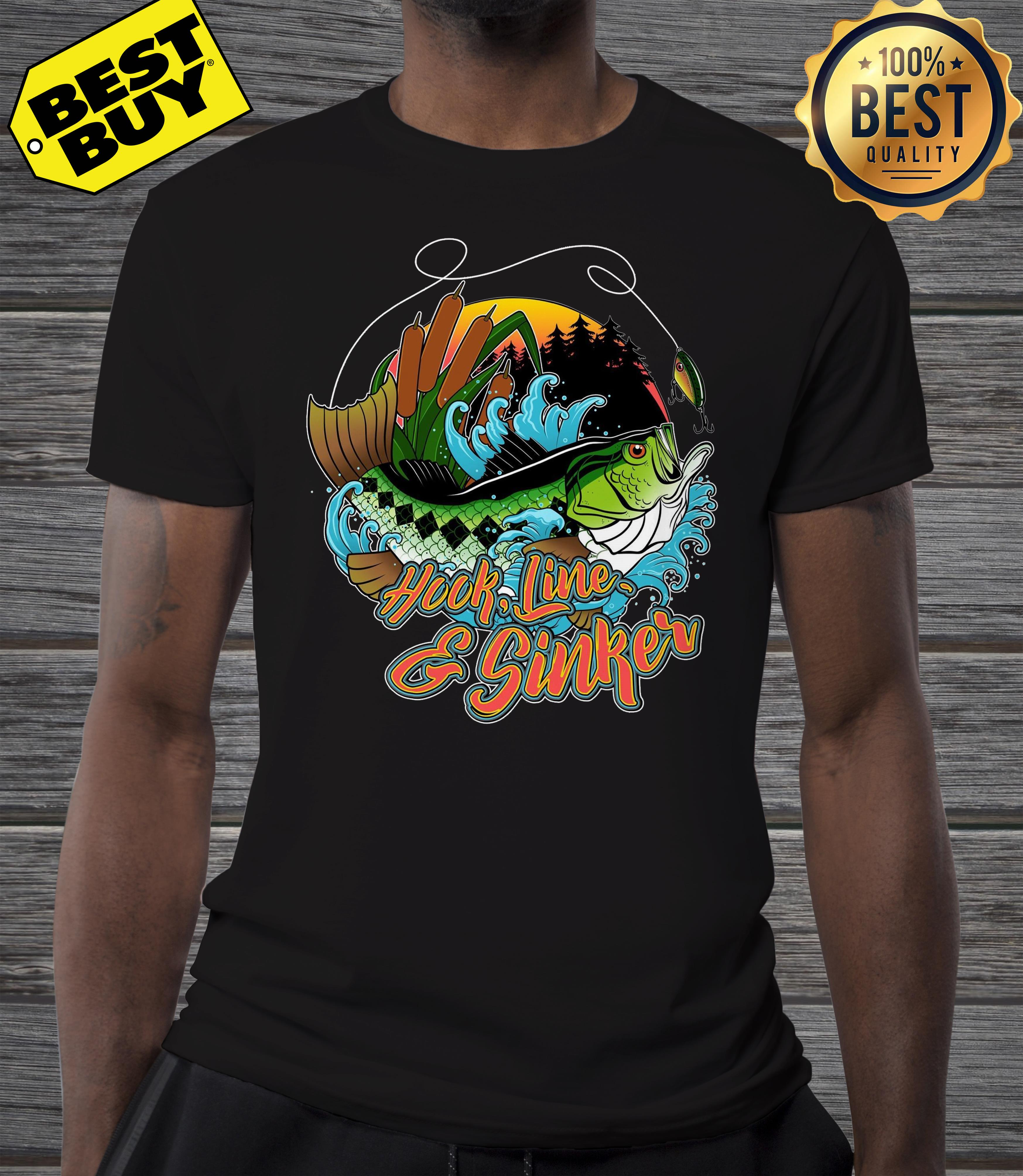 Hook line and sinker forest and sea shirt