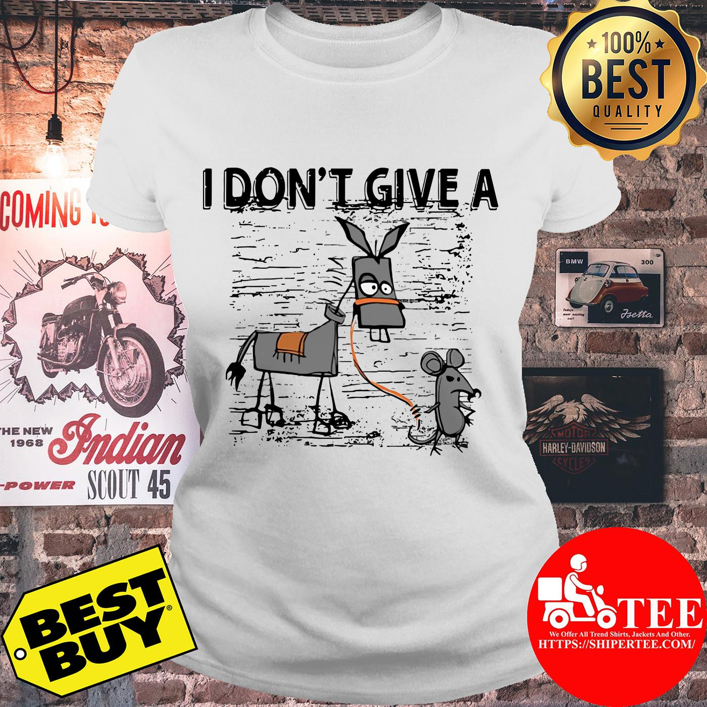 I Don't Give A Rats Ass Mouse Walking Donkey ladies tee