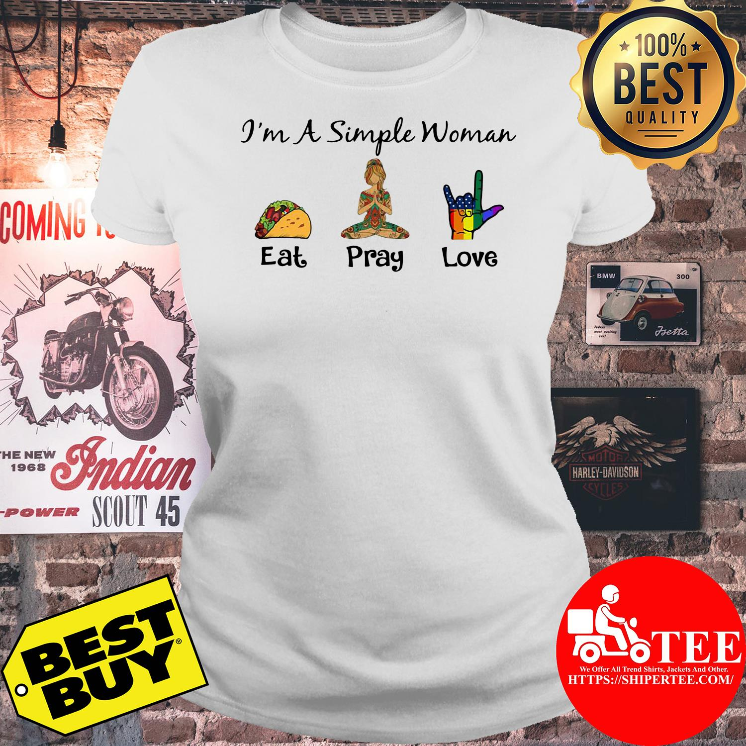 I'm a simple woman eat pray yoga love LGBT ladies tee