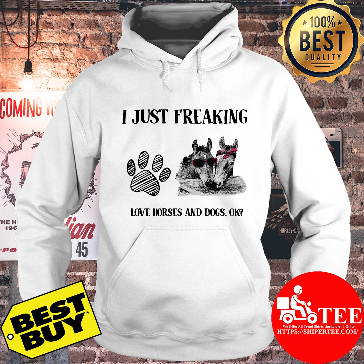 I just freaking love horses and dogs ok hoodie