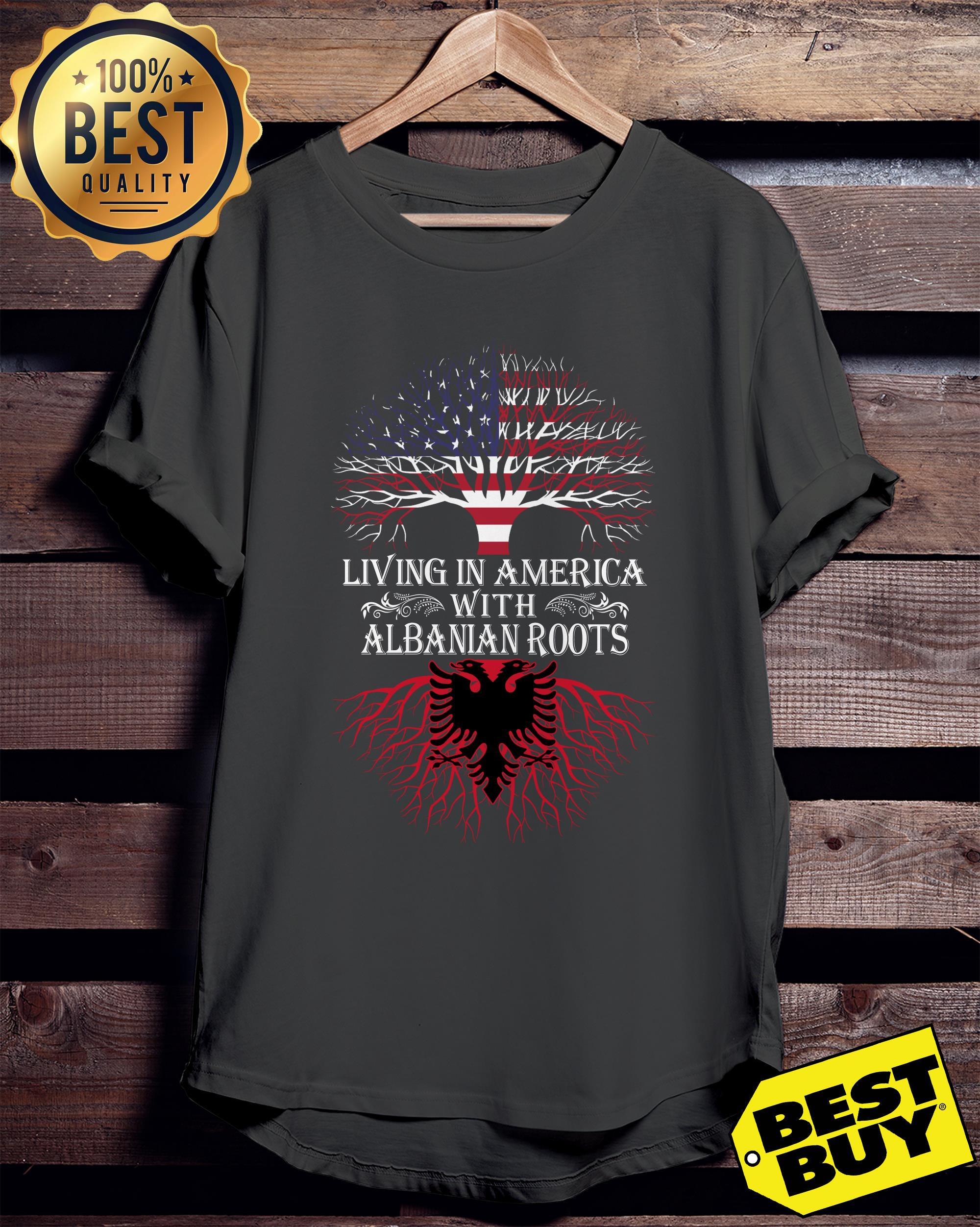 Living in America with Albanian roots ladies tee