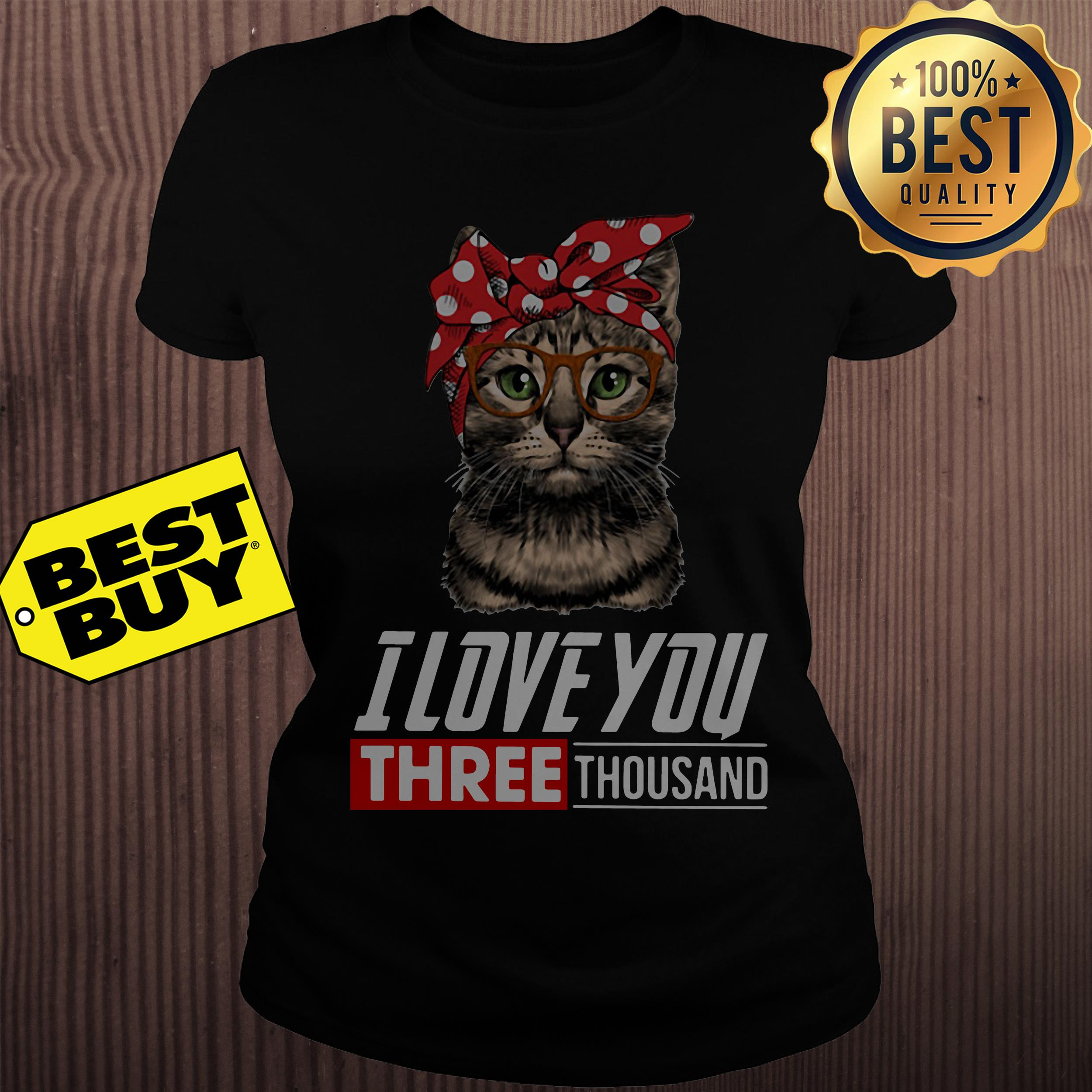 I love you three thousand cool cat with glasses ladies tee
