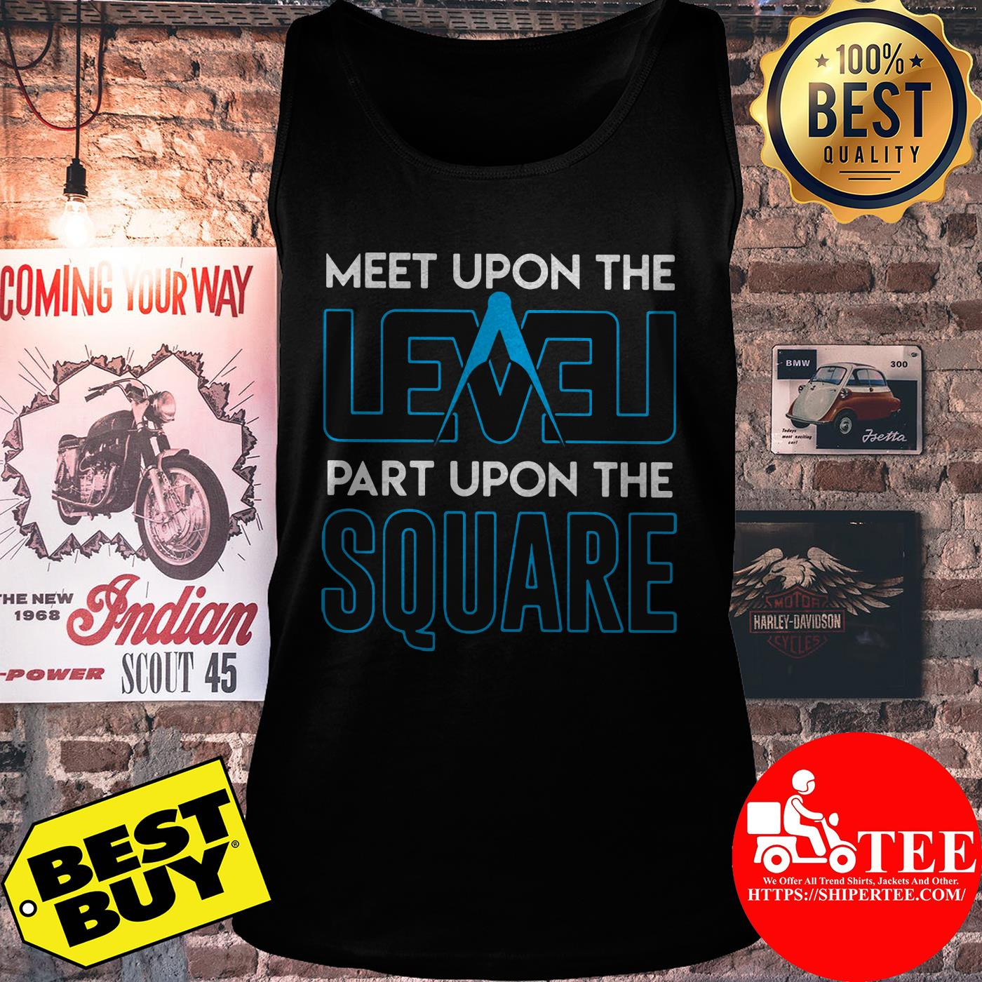 Meet upon the level part upon the square compass tank top