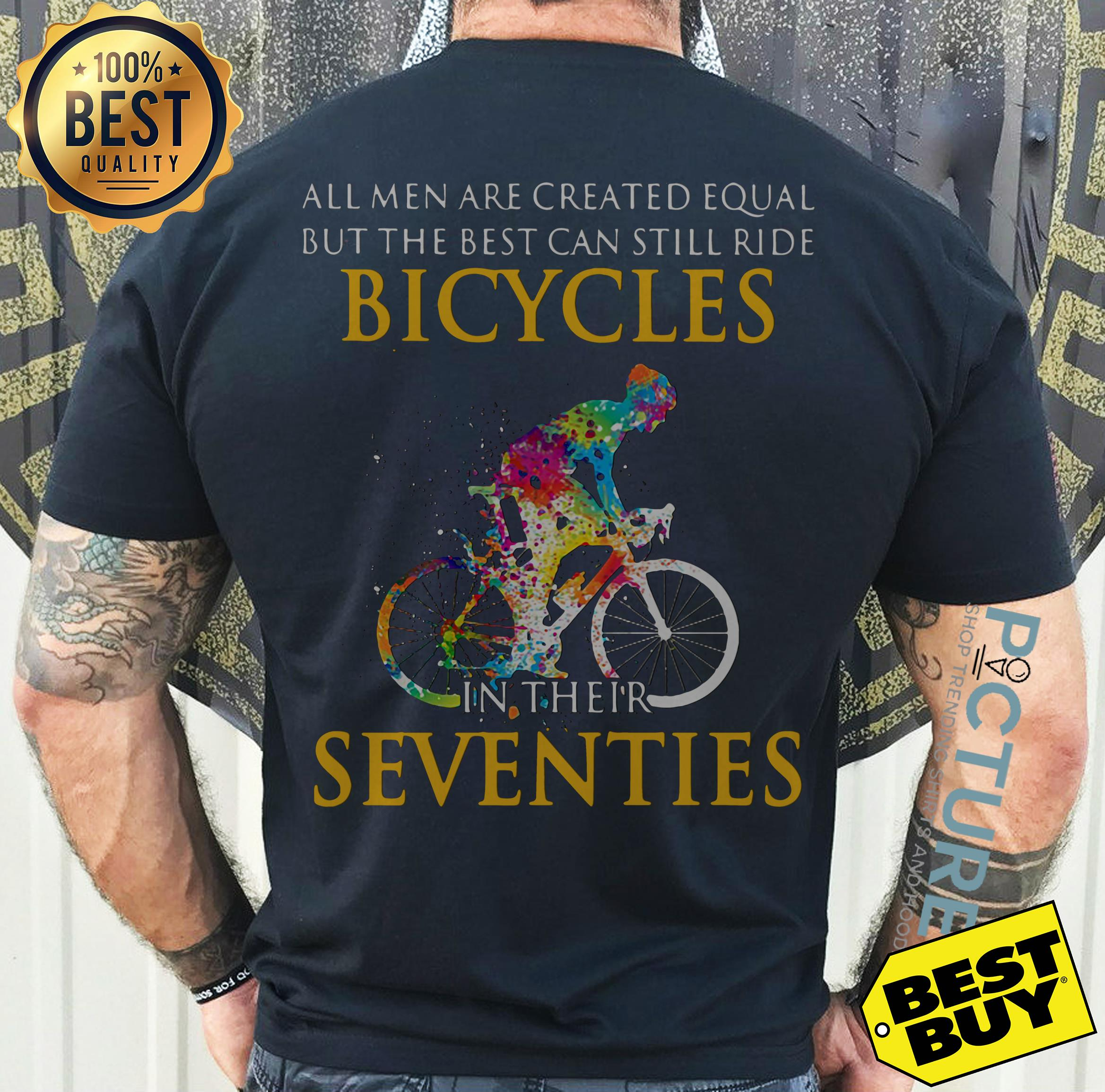 All men are created equal but only the best can still ride bicycles v-neck