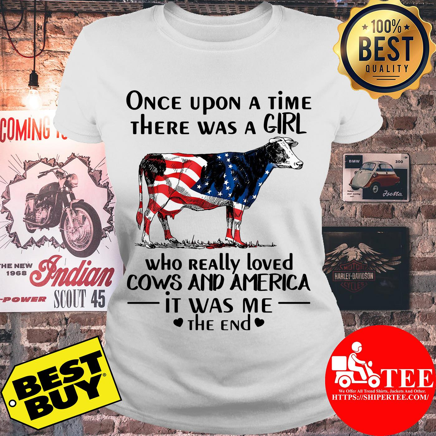 Once upon a time there was a girl who really loved cows and America ladies tee