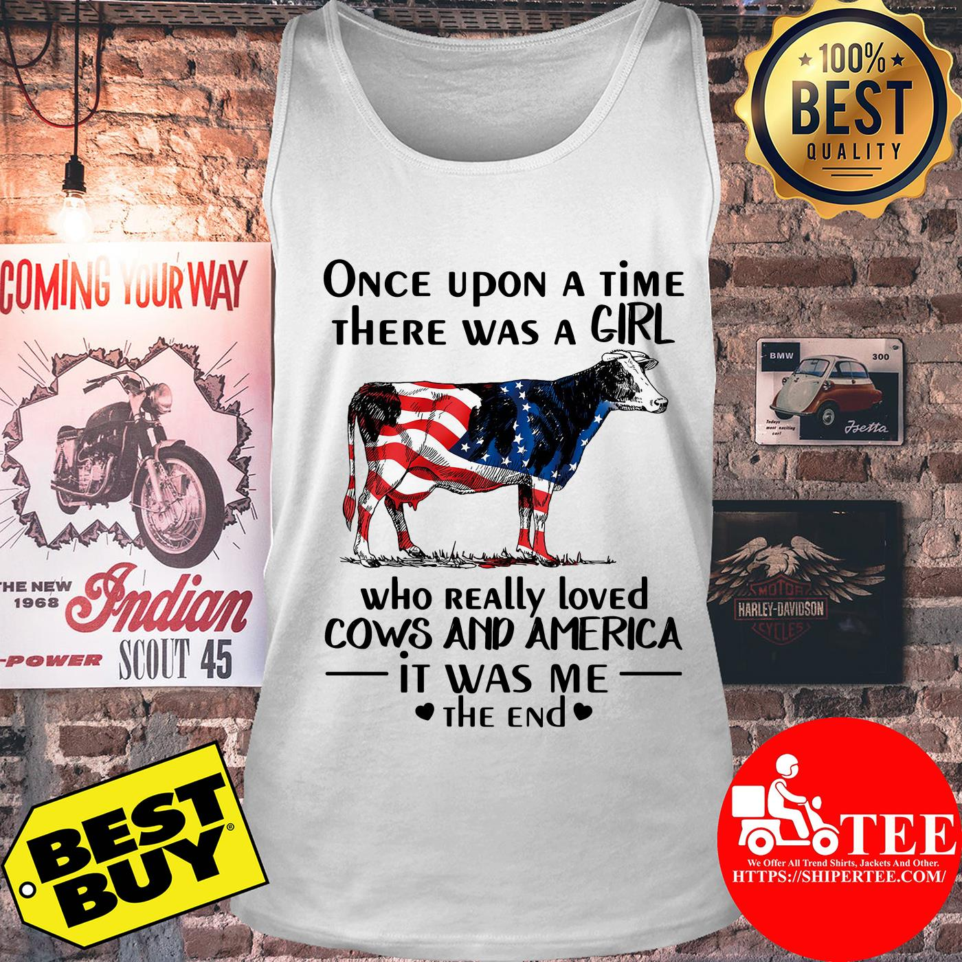Once upon a time there was a girl who really loved cows and America tank top
