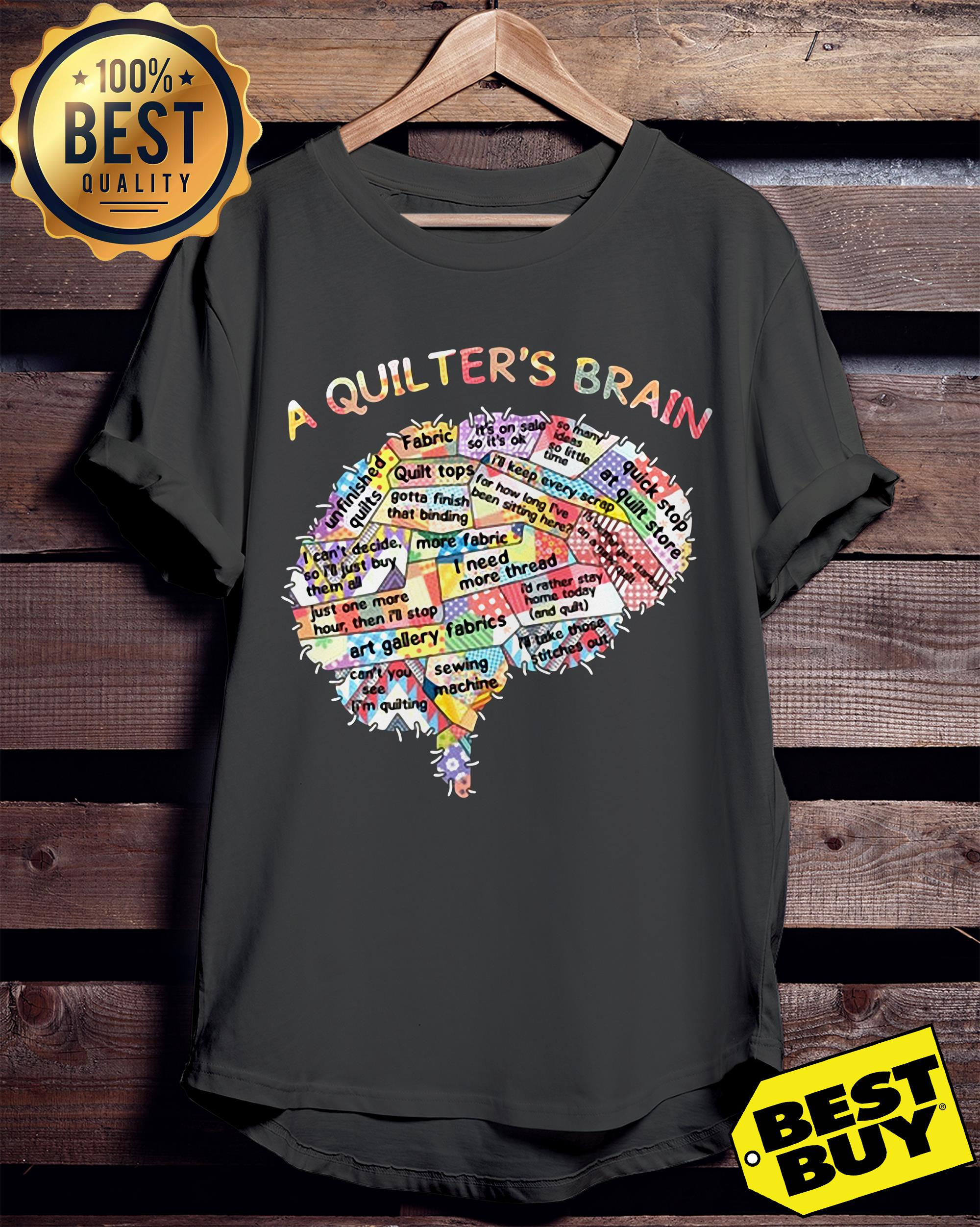 A quilter's brain of people ladies tee