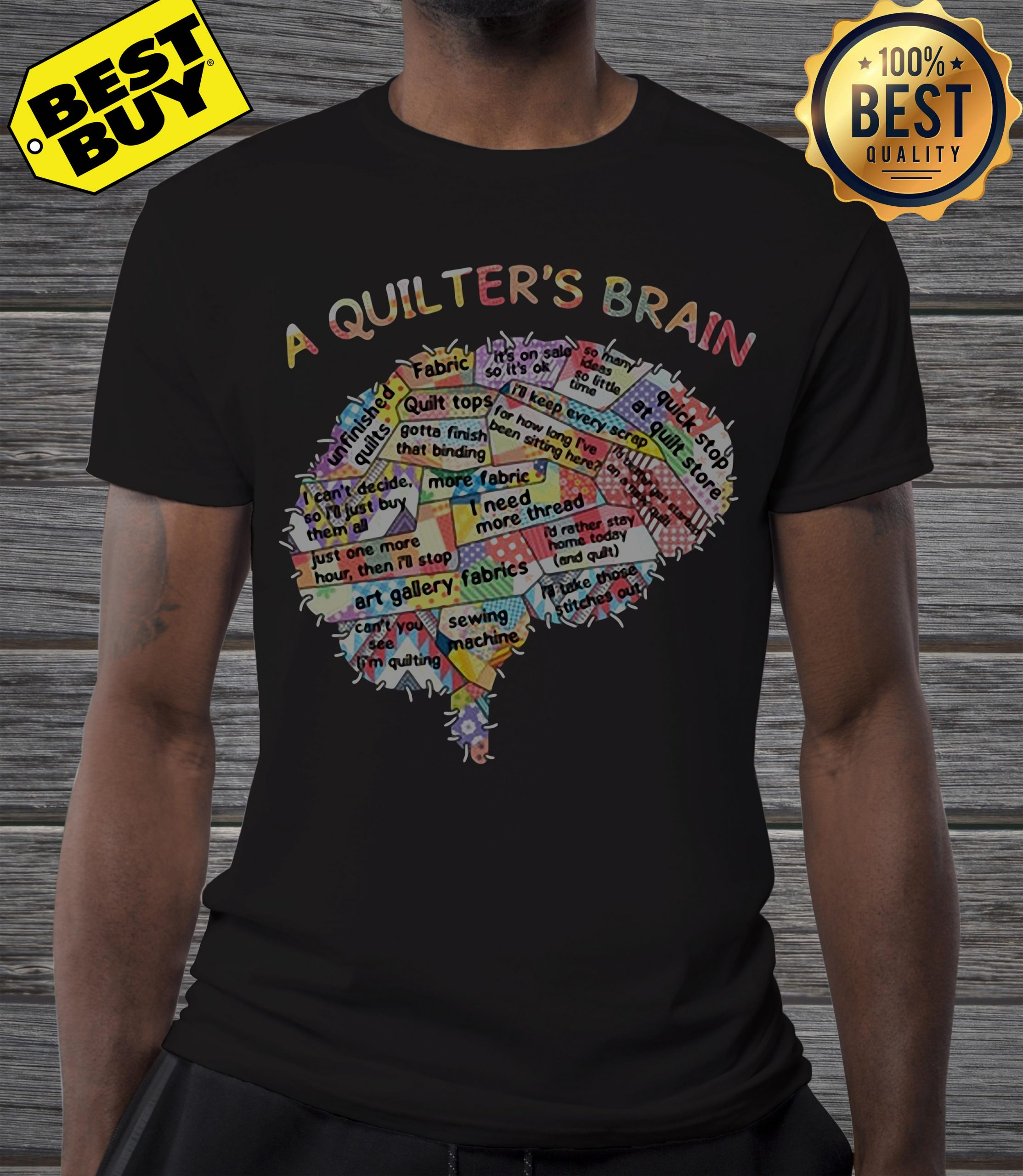 A quilter's brain of people shirt