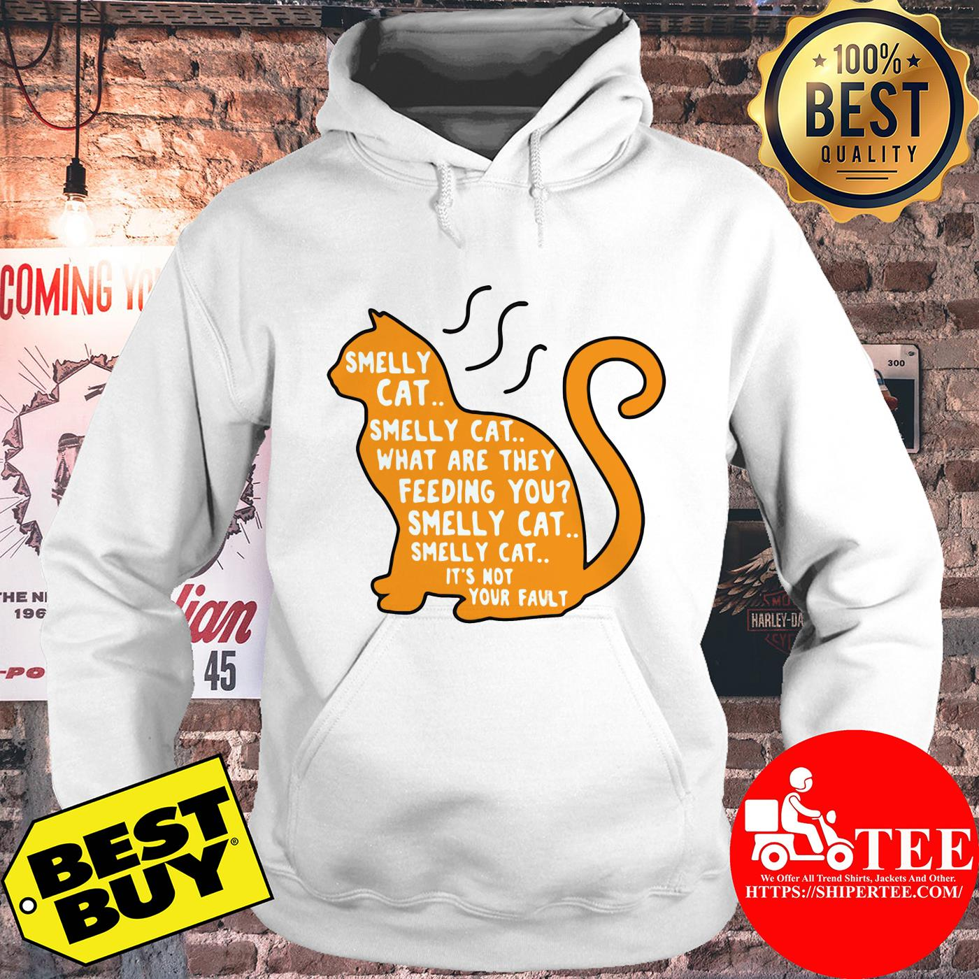 Smelly cat what are they feeding you it's not your fault hoodie