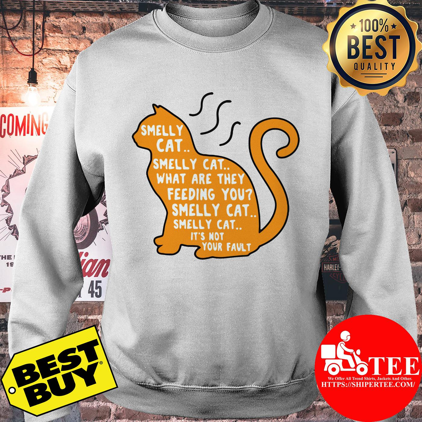 Smelly cat what are they feeding you it's not your fault sweatshirt