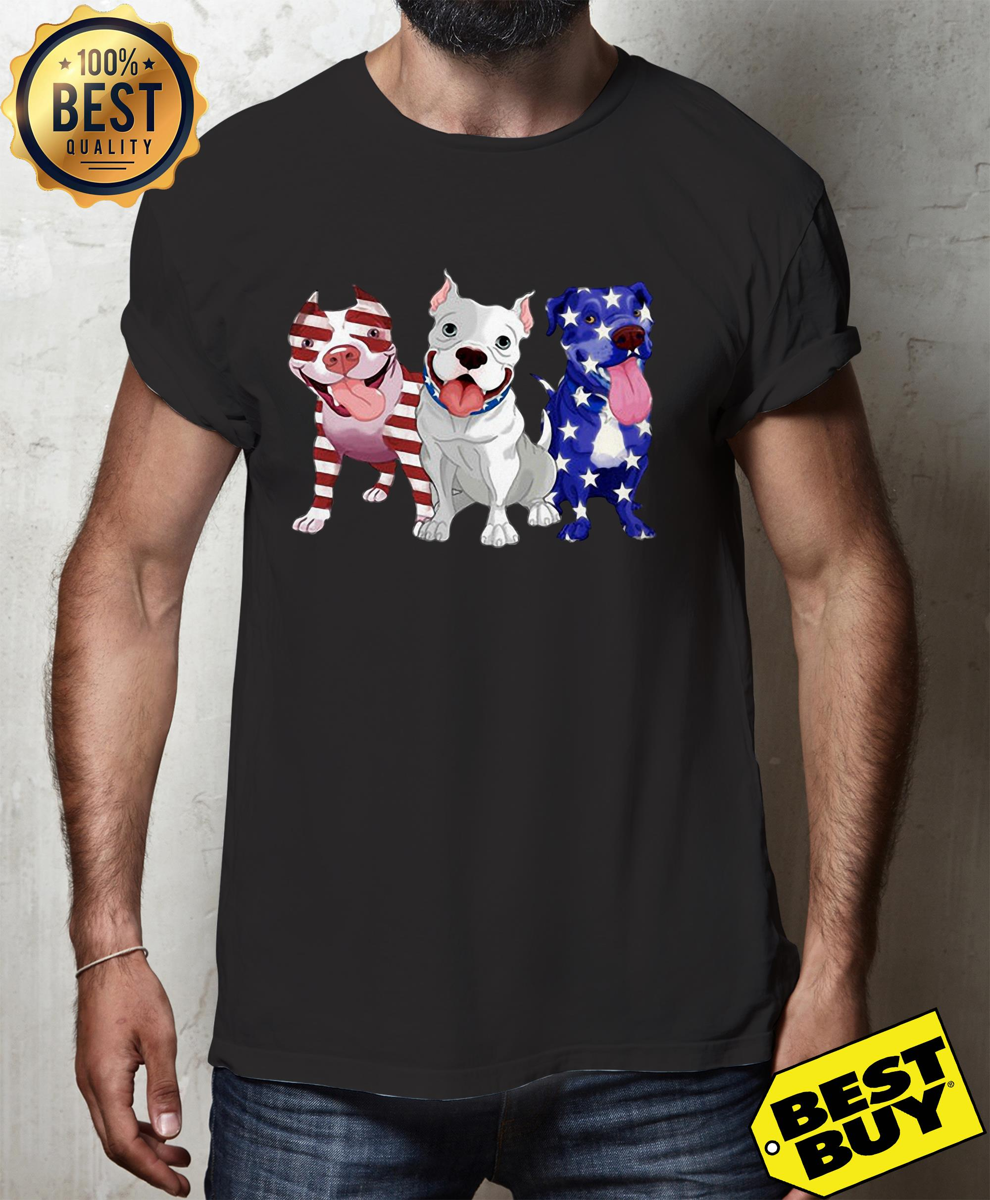 Three Pitbull American Flag hoodie