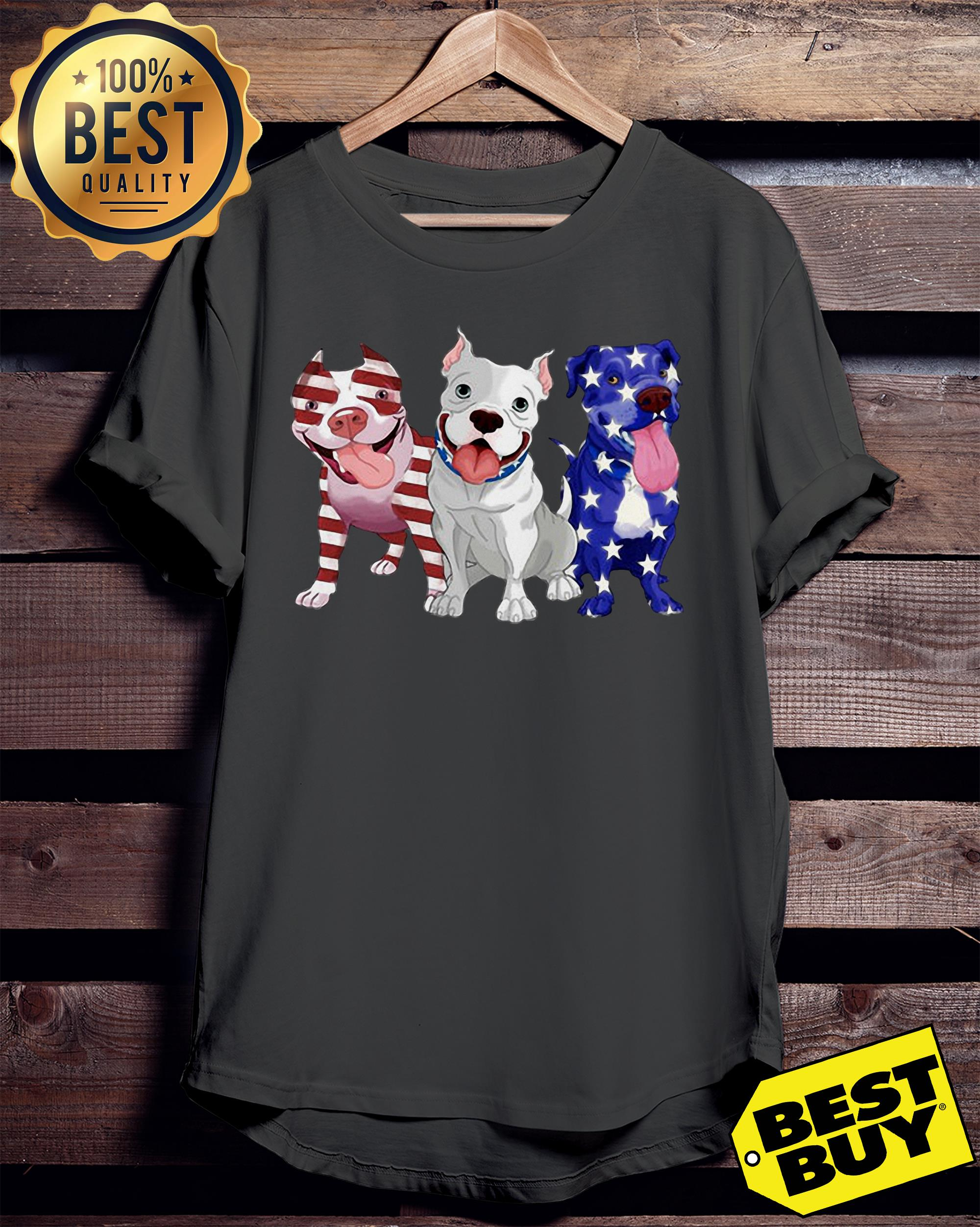 Three Pitbull American Flag ladies tee