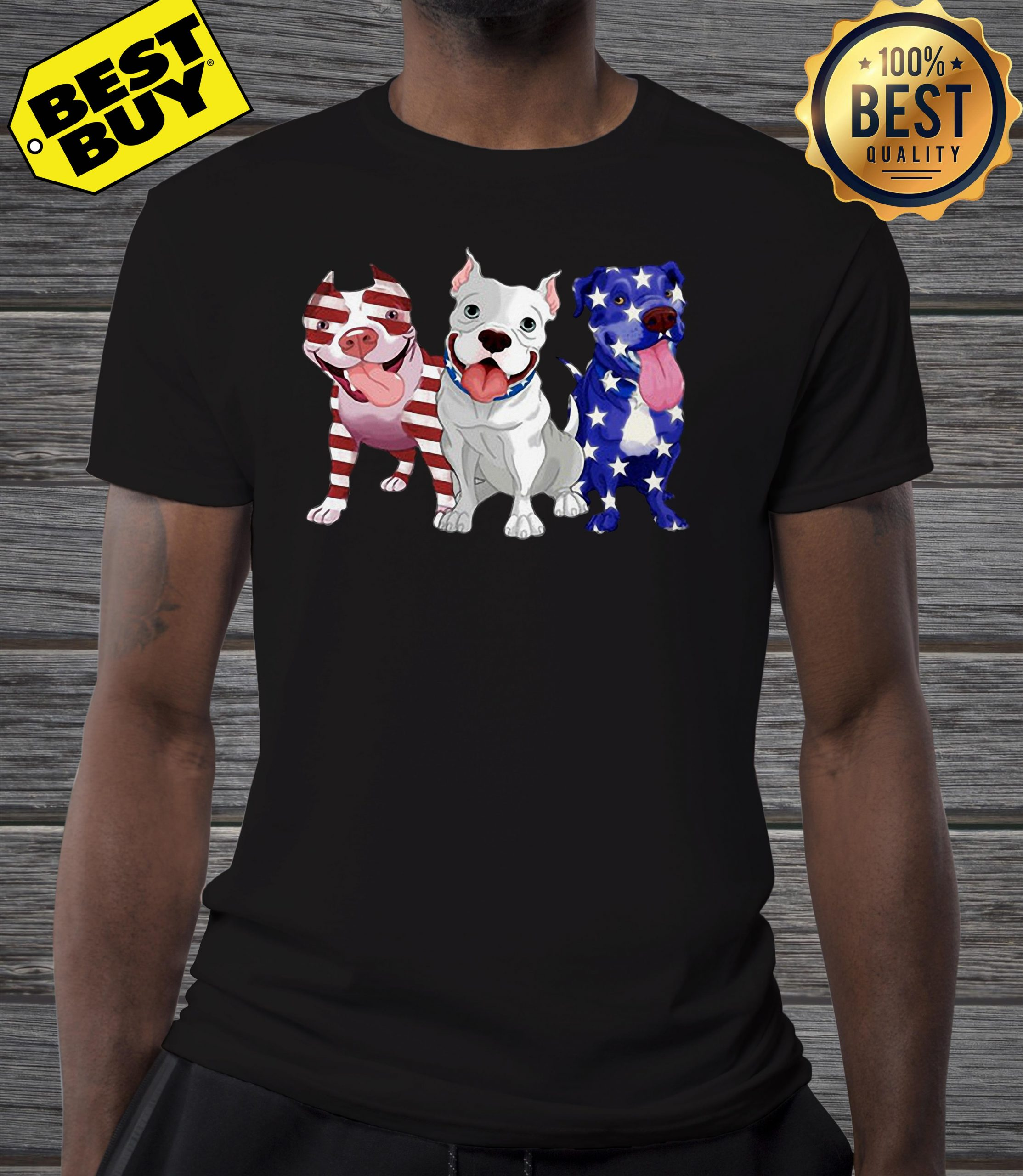 Three Pitbull American Flag shirt