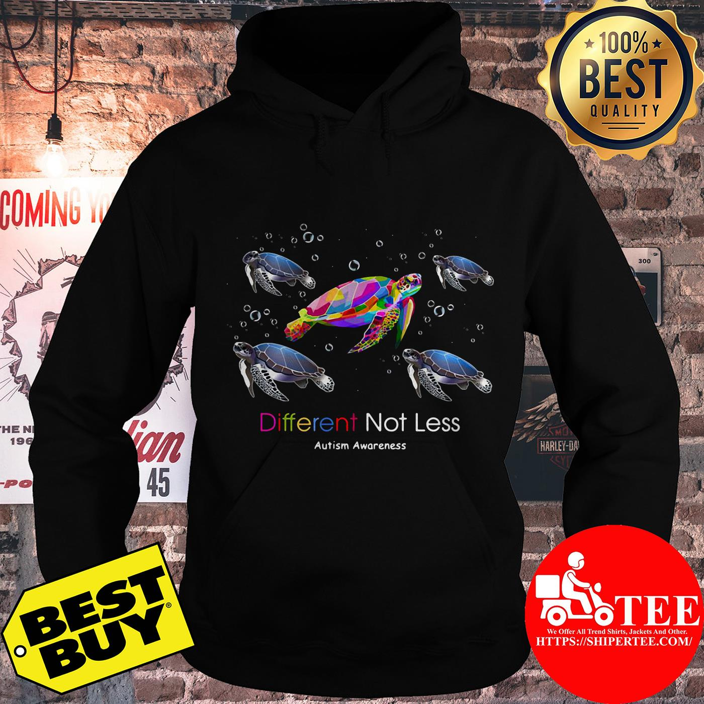 Turtle Different Not Less Autism Awareness hoodie