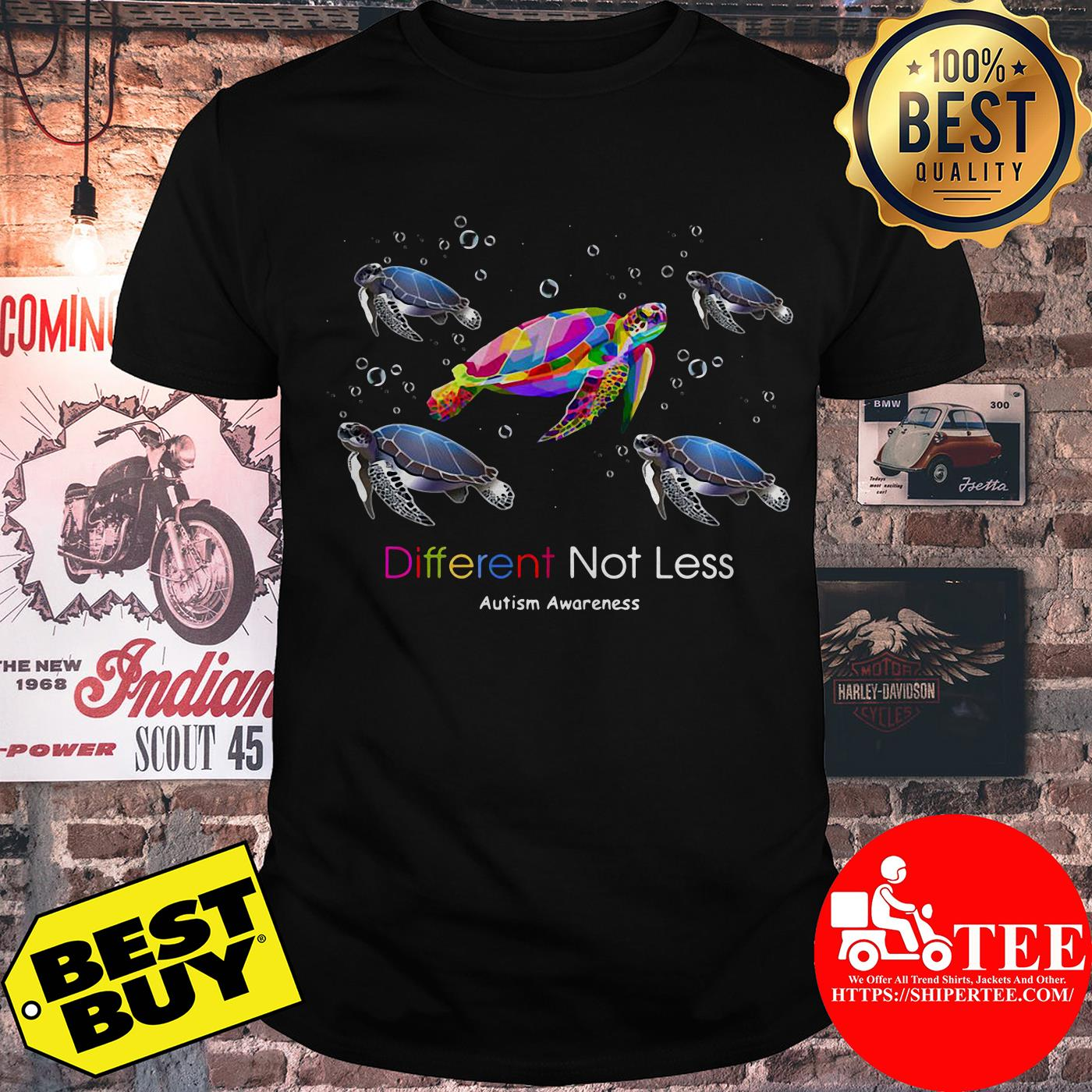 Turtle Different Not Less Autism Awareness Shirt
