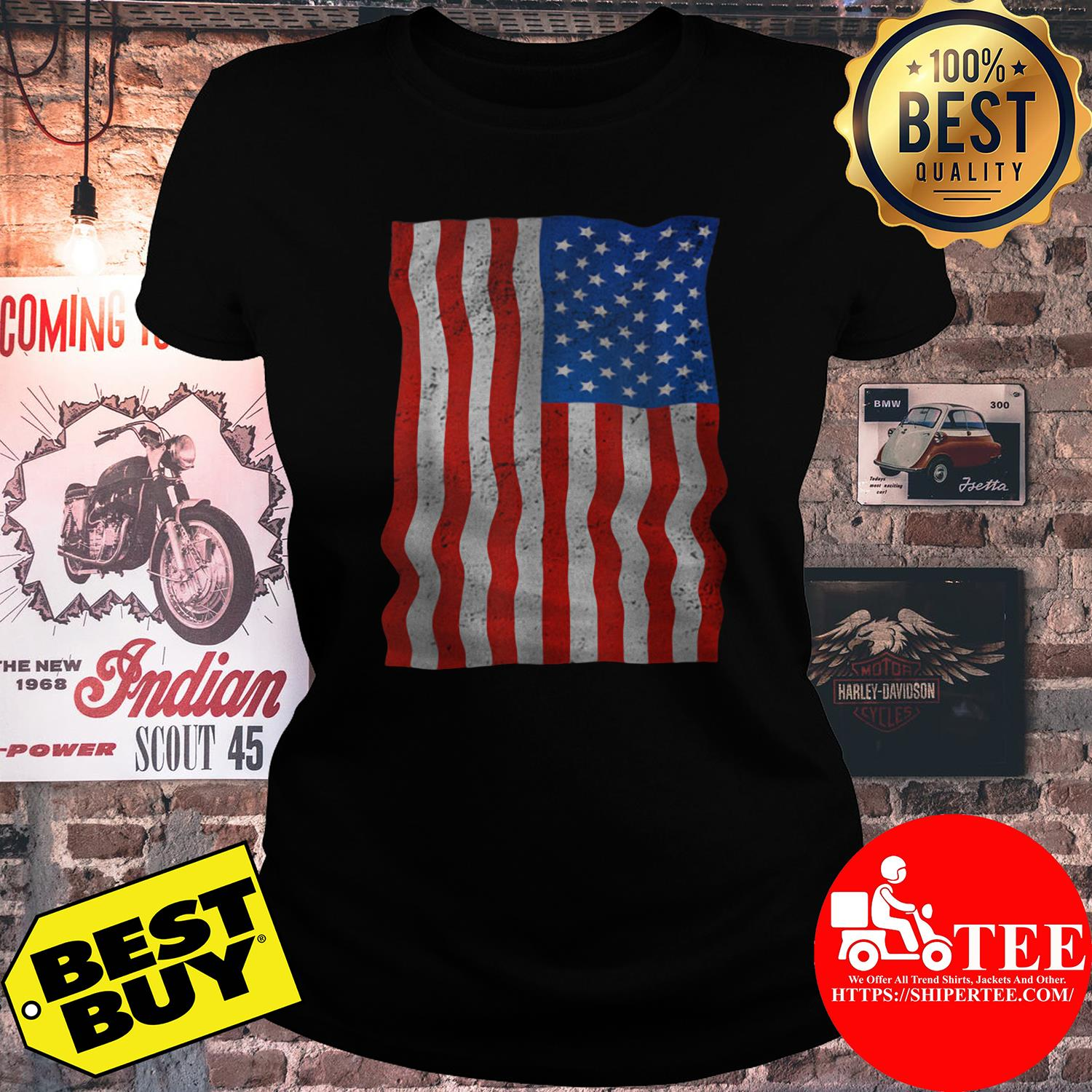 4th Of July American Flag Day Of Independence ladies tee