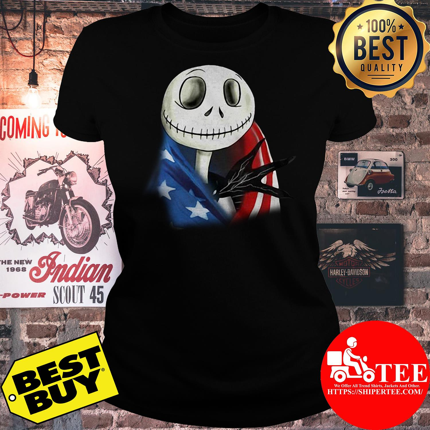 4th July independence day Skellington capes American flag ladies tee