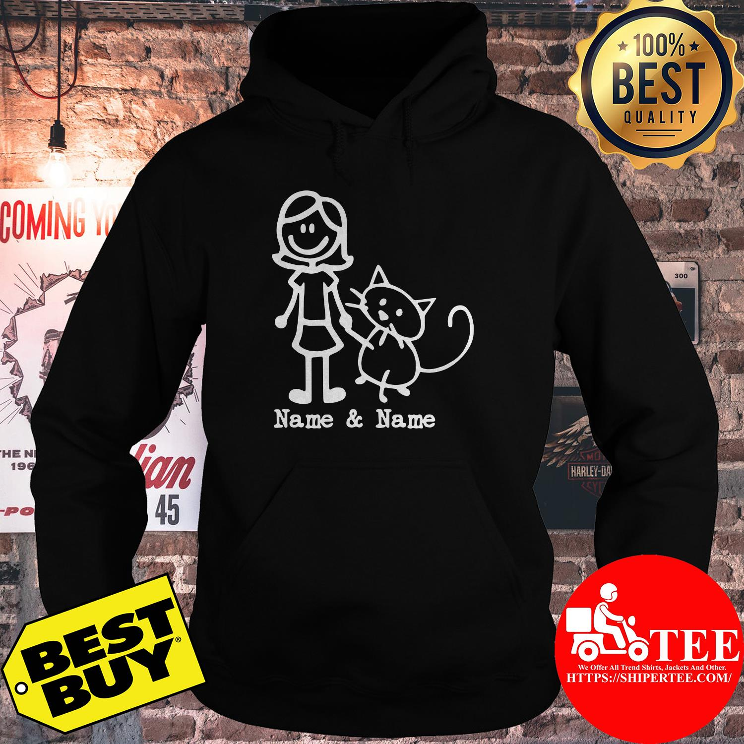 Best friends for life Name and Name girl and cat hoodie