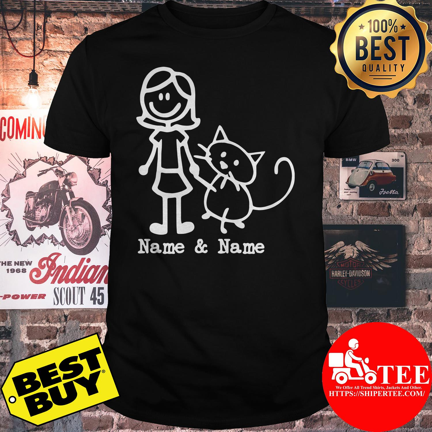 Best friends for life Name and Name girl and cat shirt