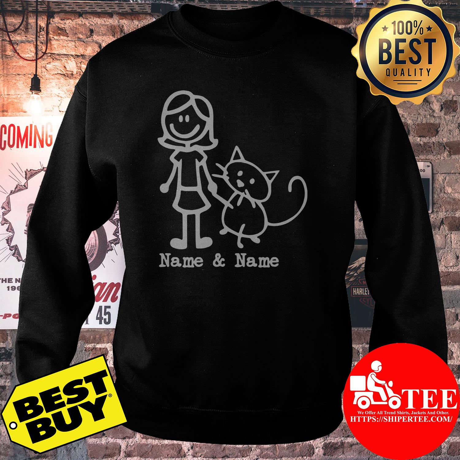 Best friends for life Name and Name girl and cat sweatshirt