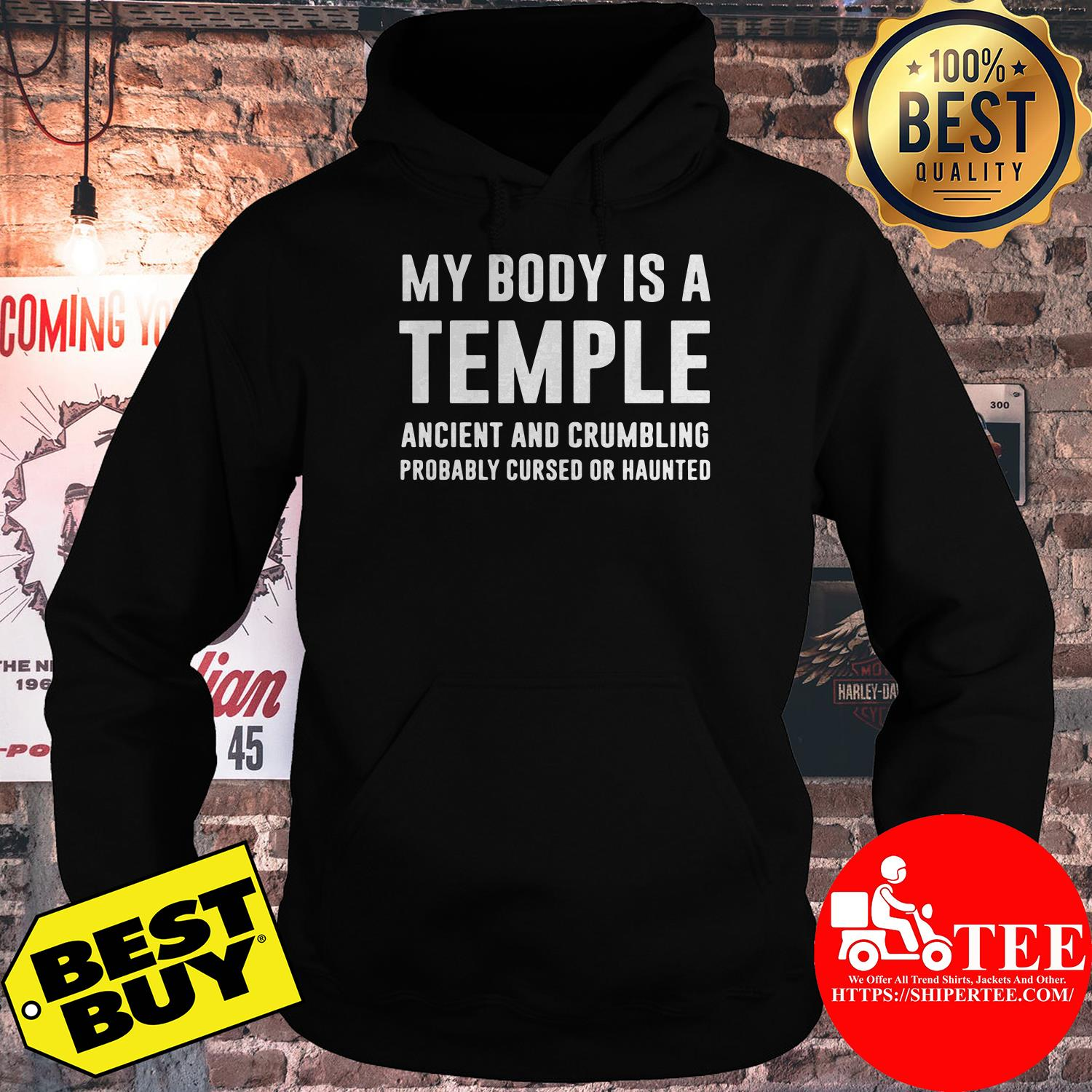 My body is a temple ancient and crumbling probably cursed hoodie