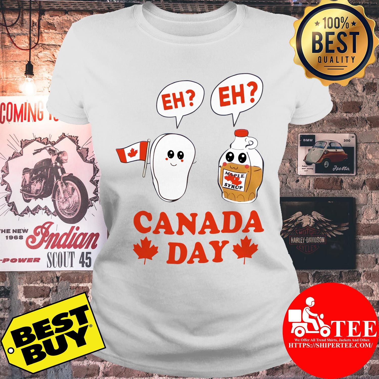 Canada day eh maple syrup and Canadian bacon flag ladies tee