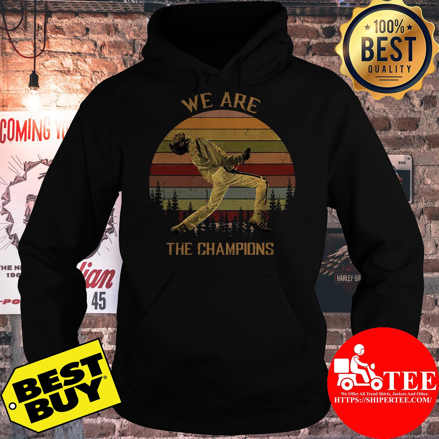 Freddie Mercury We are the champions trees vintage hoodie