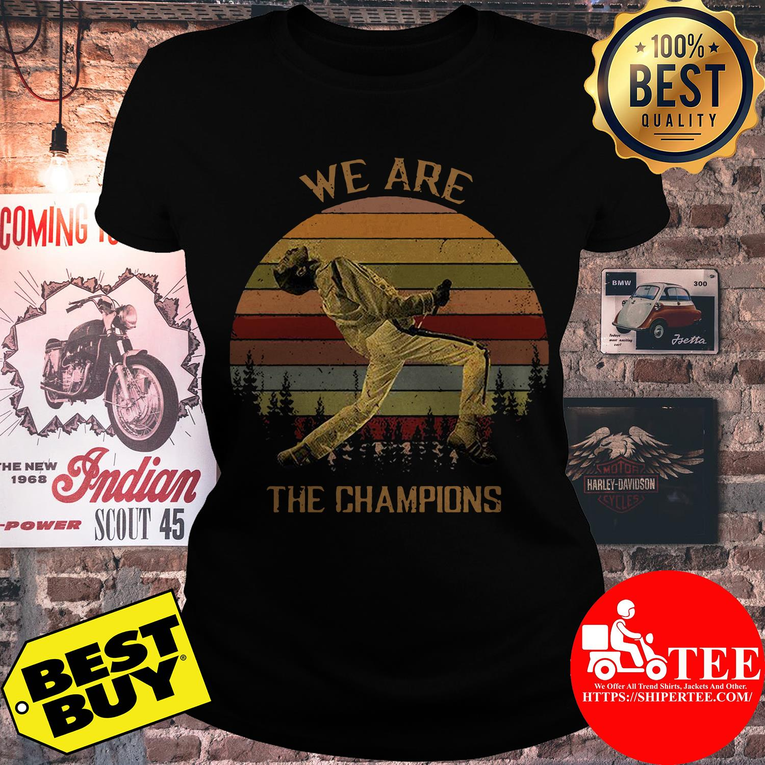 Freddie Mercury We are the champions trees vintage ladies tee
