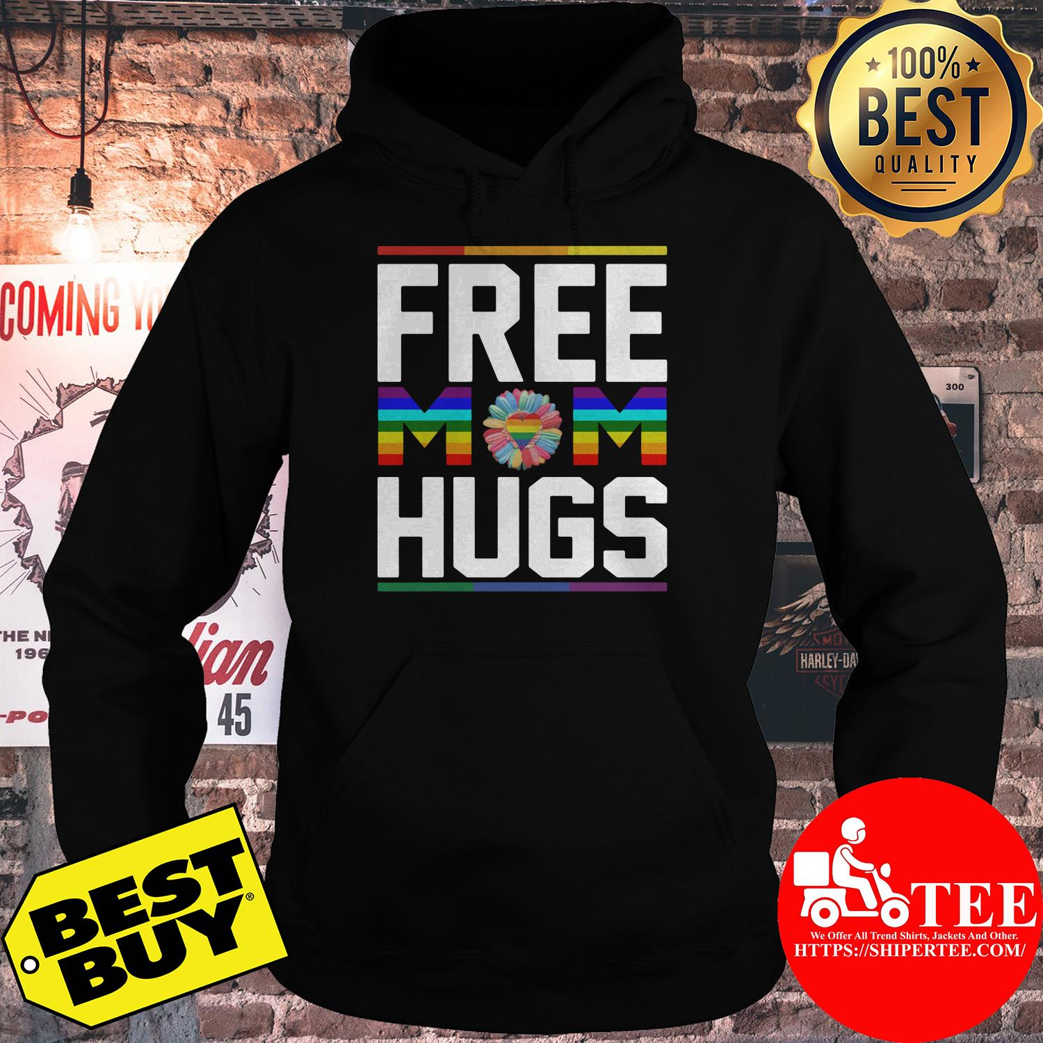 Free Mom Hugs Rainbow Flower LGBT Pride Support hoodie