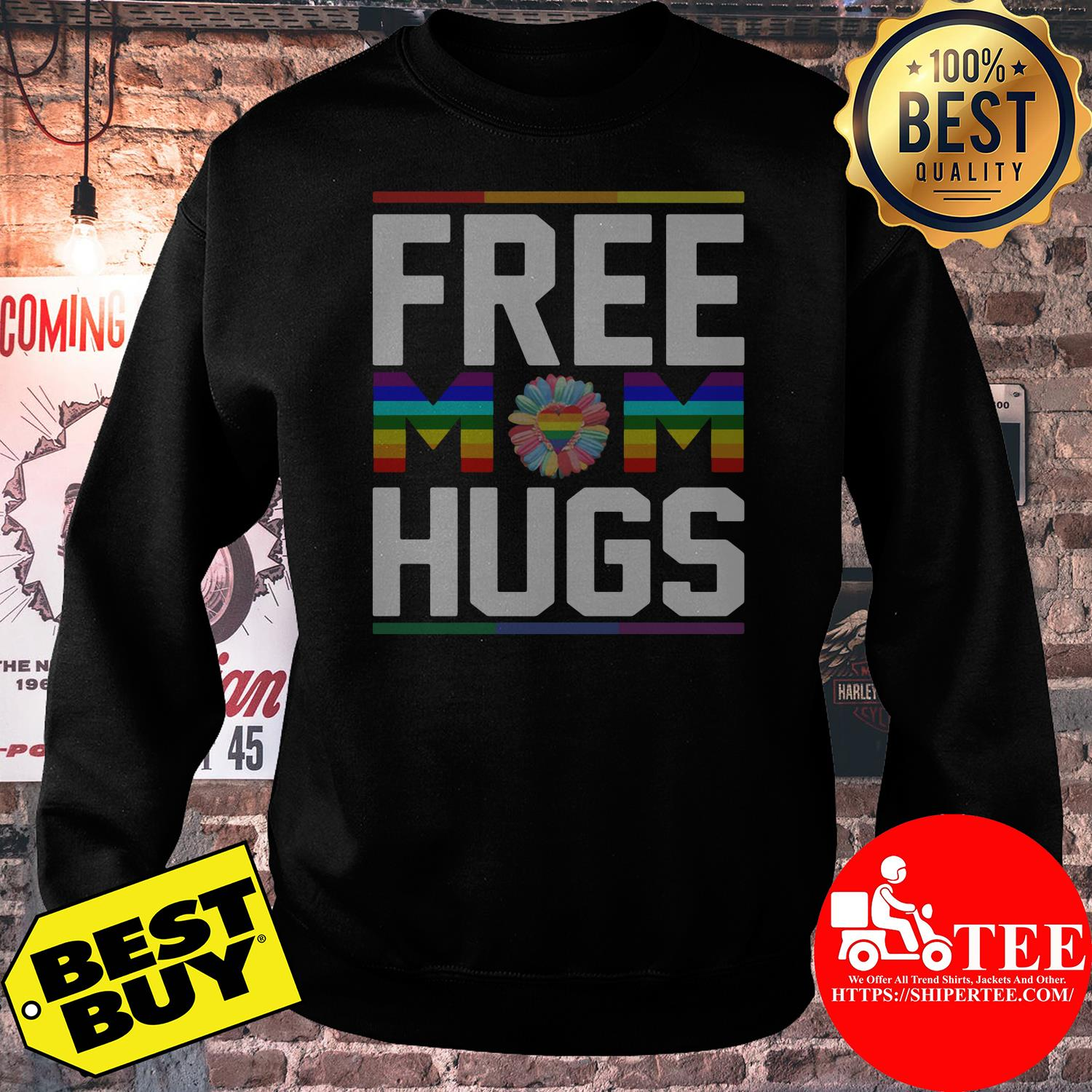 Free Mom Hugs Rainbow Flower LGBT Pride Support sweatshirt