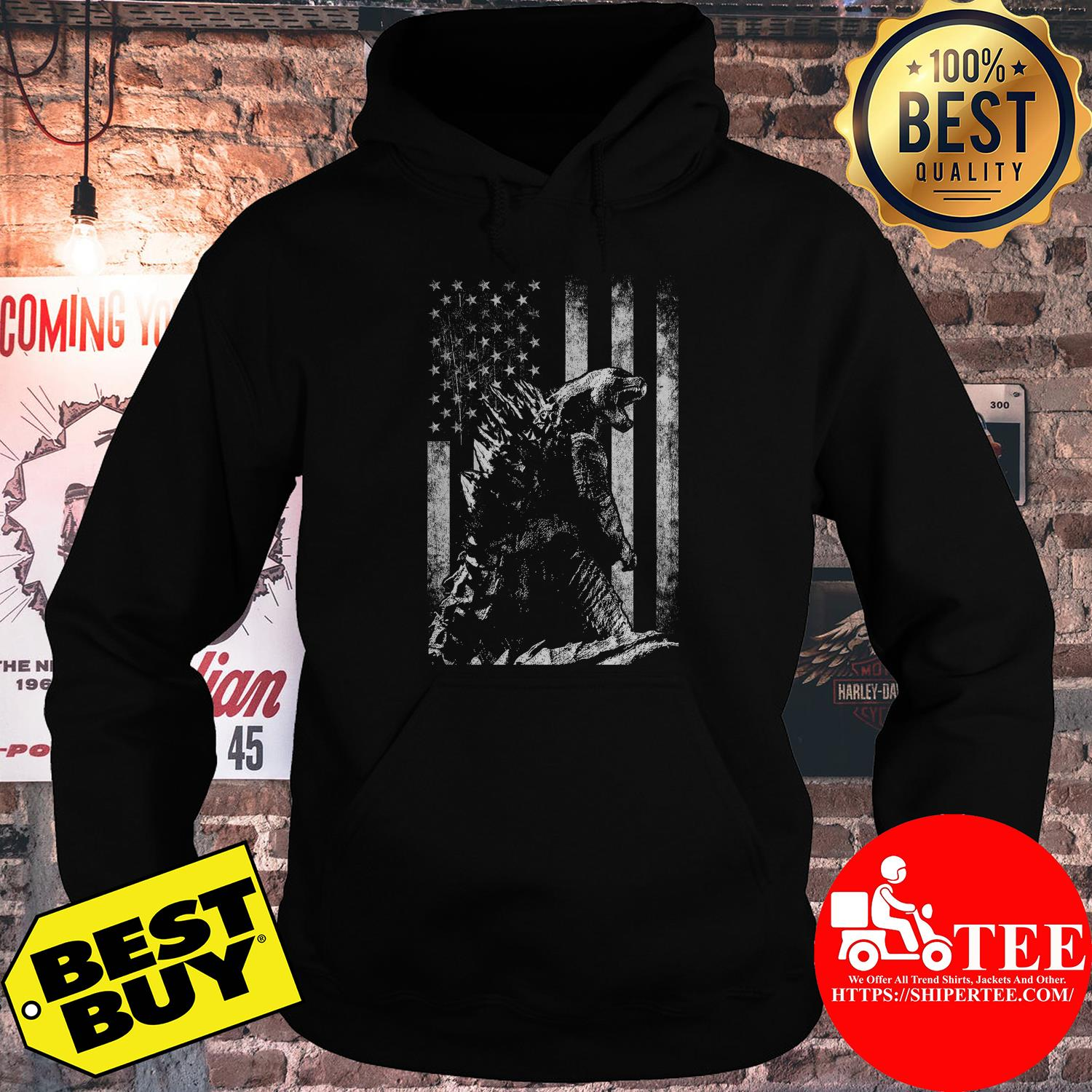 Godzilla King of the monsters American flag hoodie