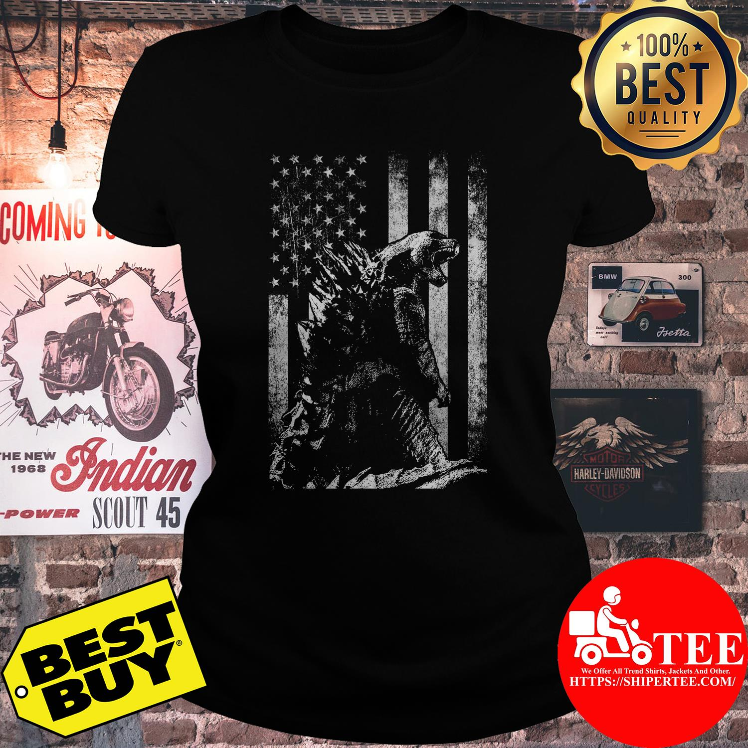 Godzilla King of the monsters American flag ladies tee