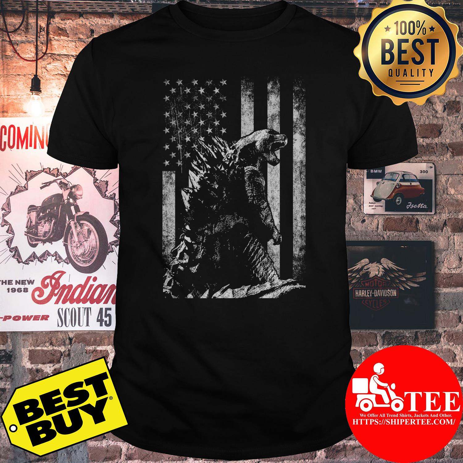 Godzilla King of the monsters American flag shirt