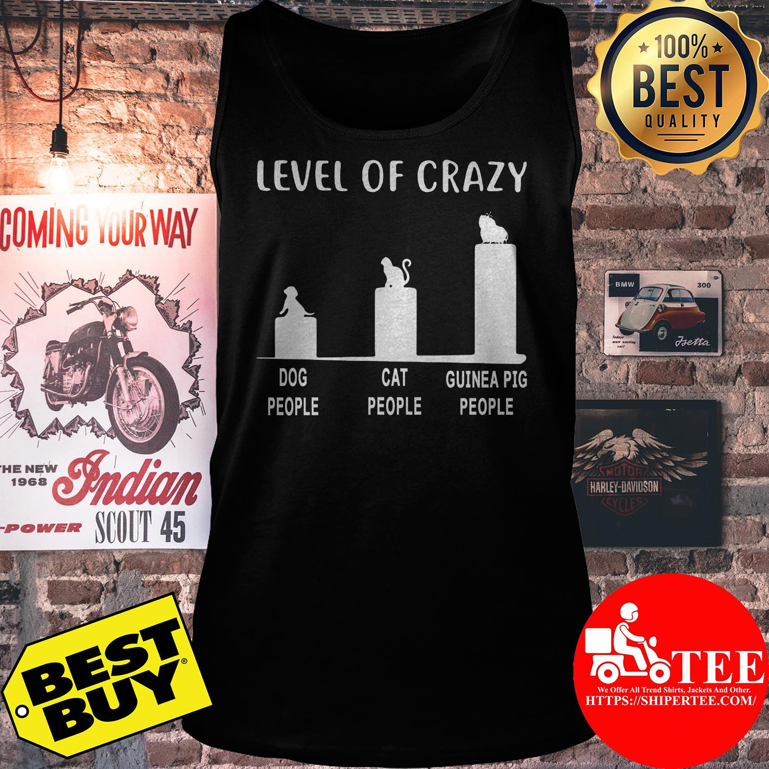 Level of Crazy dog people cat people guinea pig people tank top