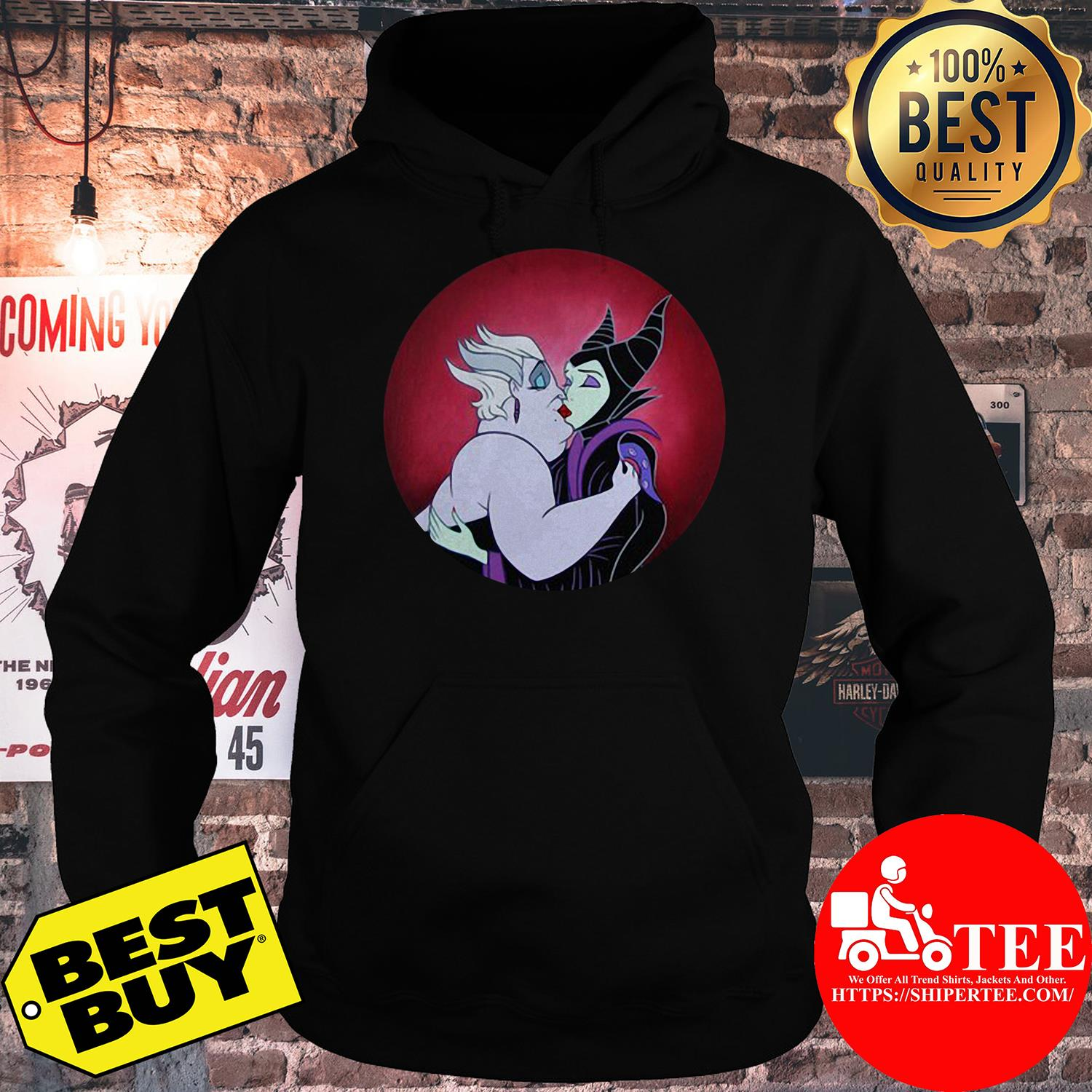 Loaiza Ursula Maleficent Kiss Continental Rolled hoodie