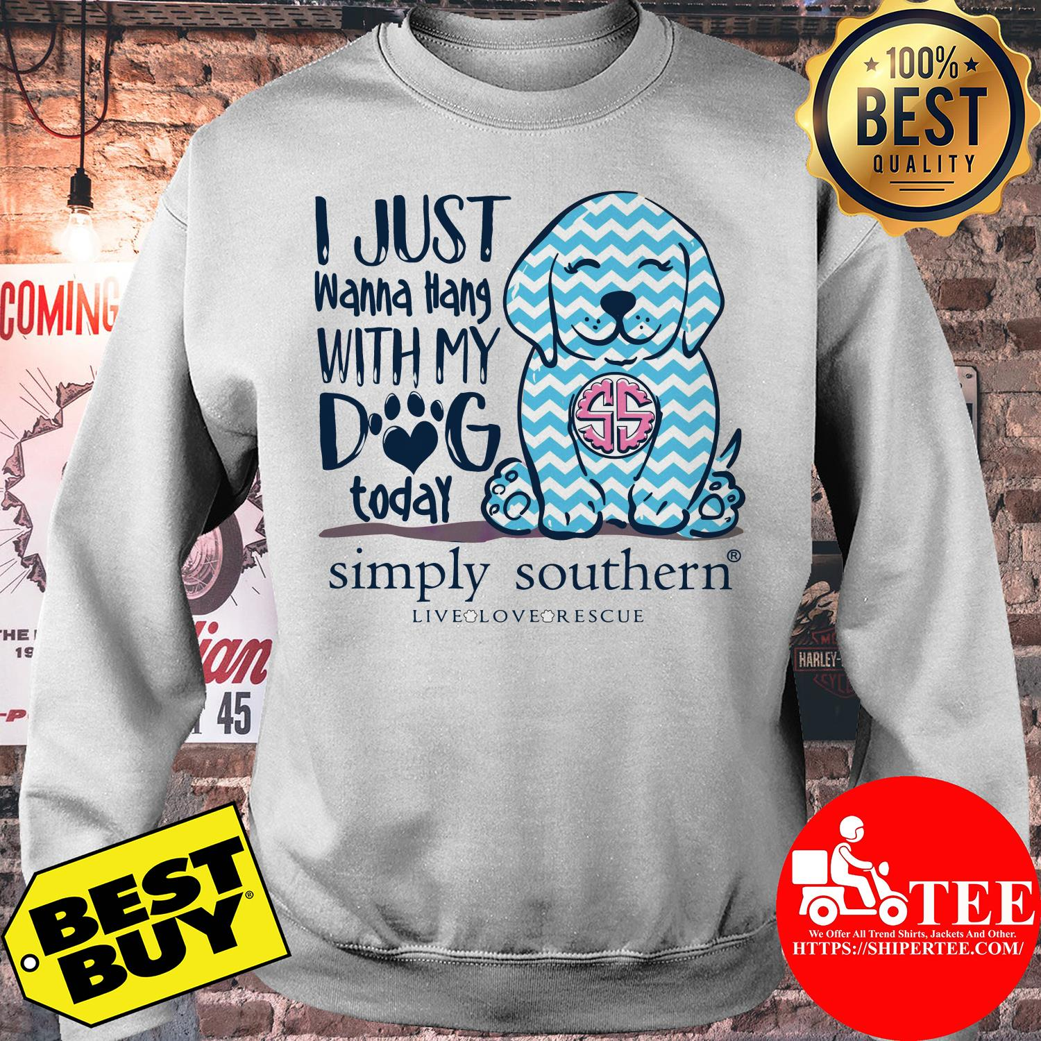 Simply Southern Preppy Dog Tiedye I just wanna hang with my dog today sweatshirt
