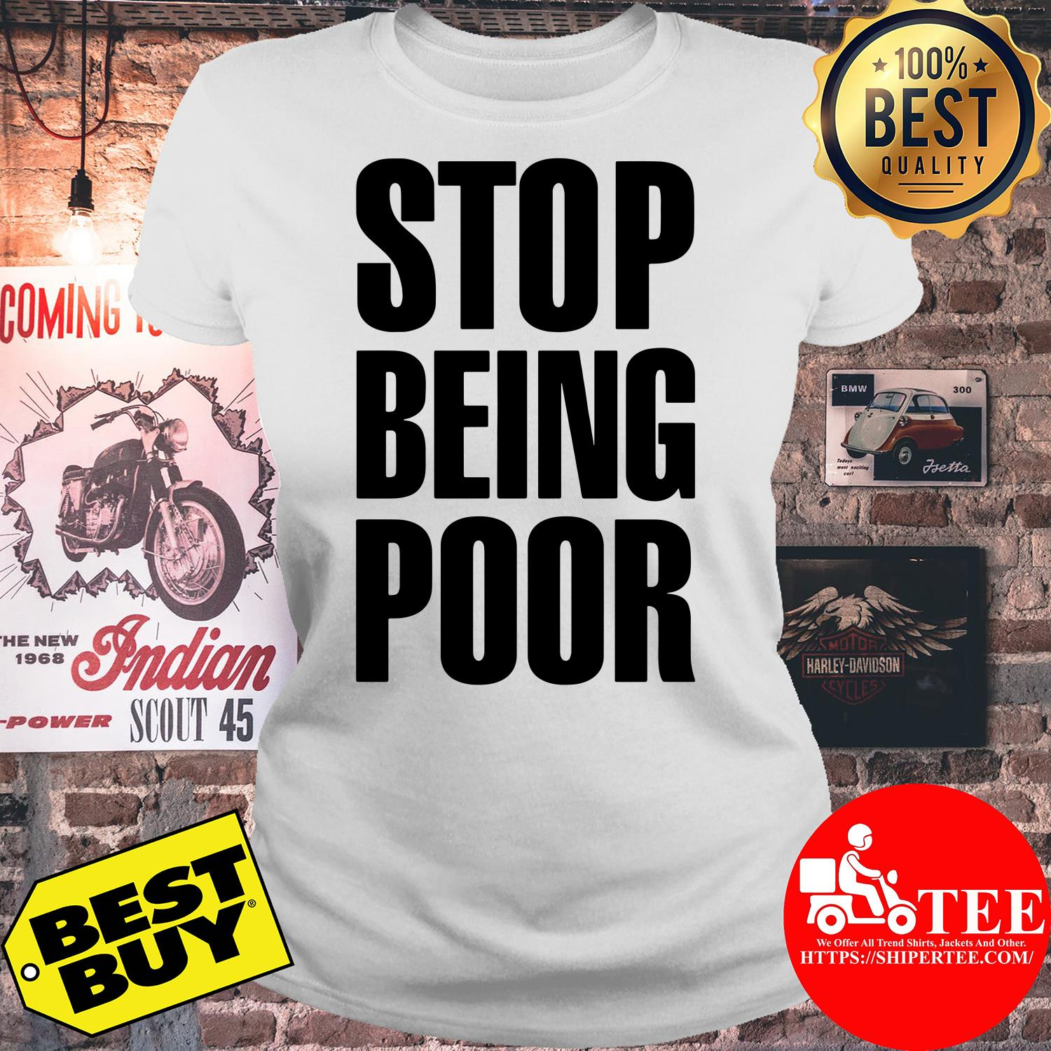 Stop Being Poor Paris Hilton ladies tee