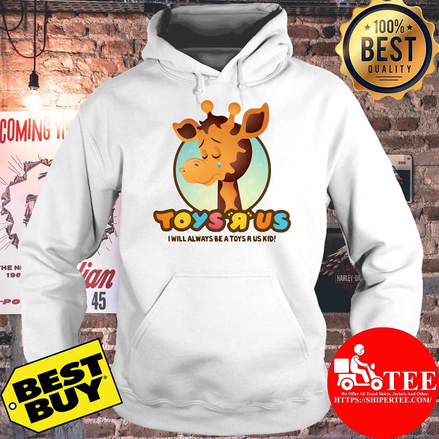 Toys R Us Giraffe Toys White I Will Always Be A Toys R Us Kid hoodie