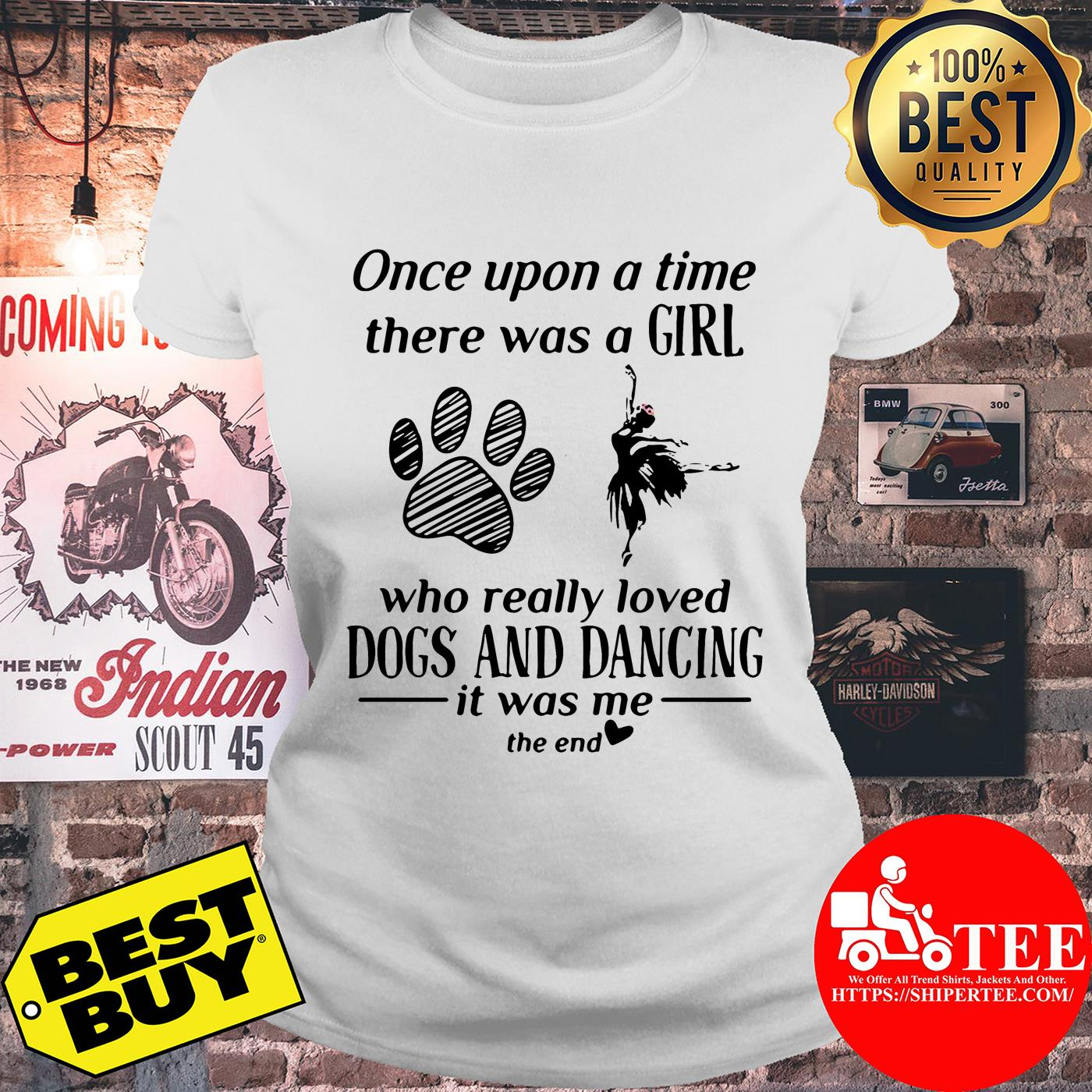 Once upon a time there was a girl who really loved dogs and dancing ladies tee