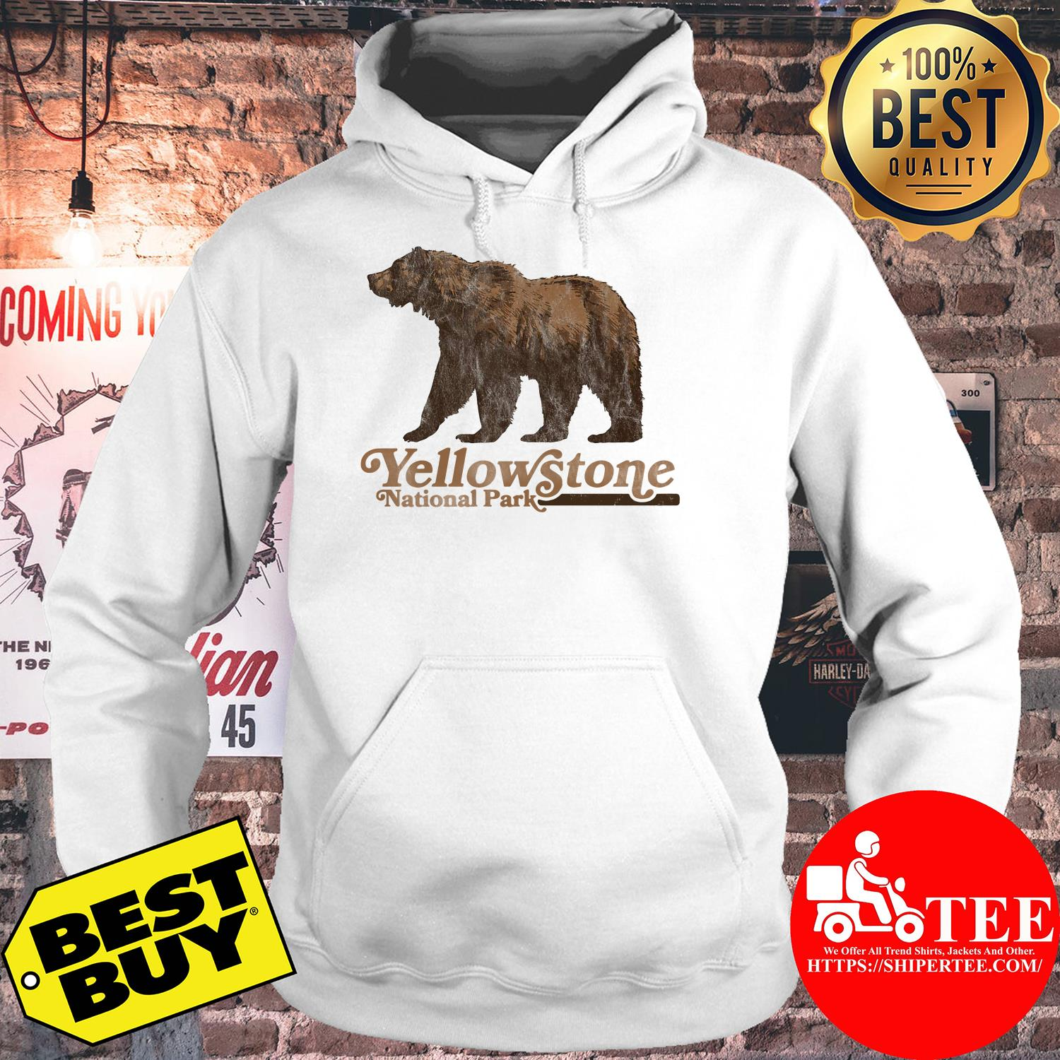 Vintage Yellowstone National Park Retro Grizzly Bear hoodie