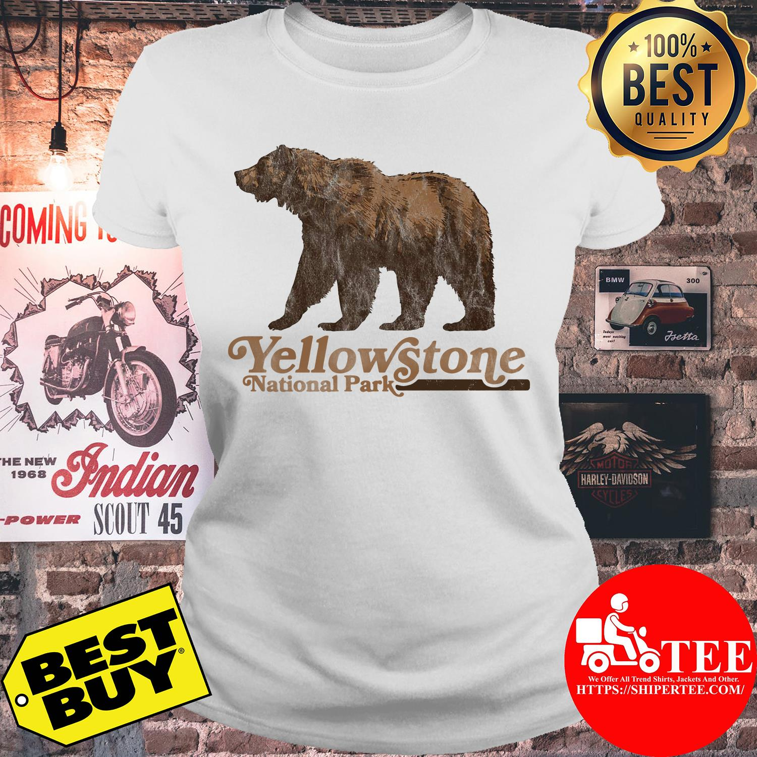 Vintage Yellowstone National Park Retro Grizzly Bear ladies tee