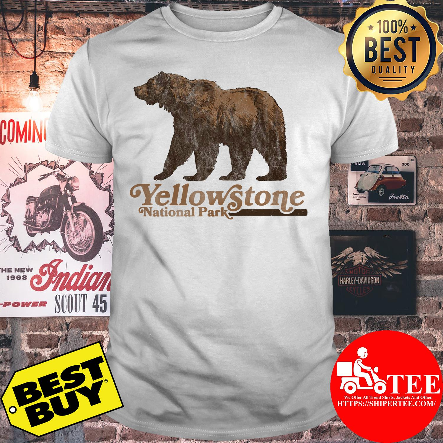 Vintage Yellowstone National Park Retro Grizzly Bear Shirt