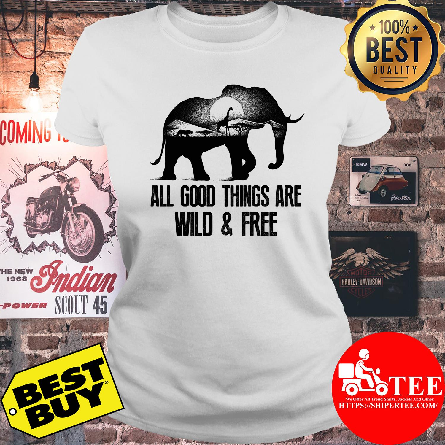 Wild animals all good things are wild and free ladies tee