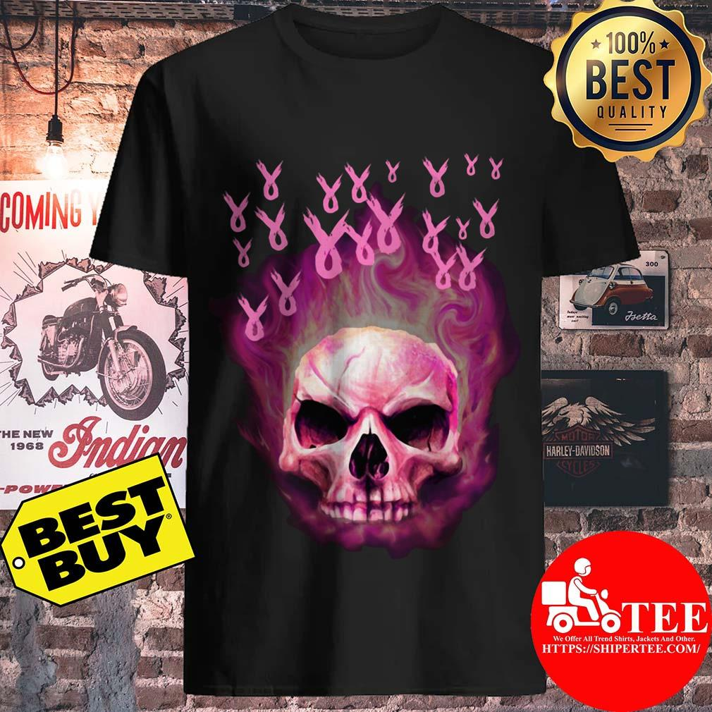 Breast Cancer Awareness Flame Skull Halloween shirt