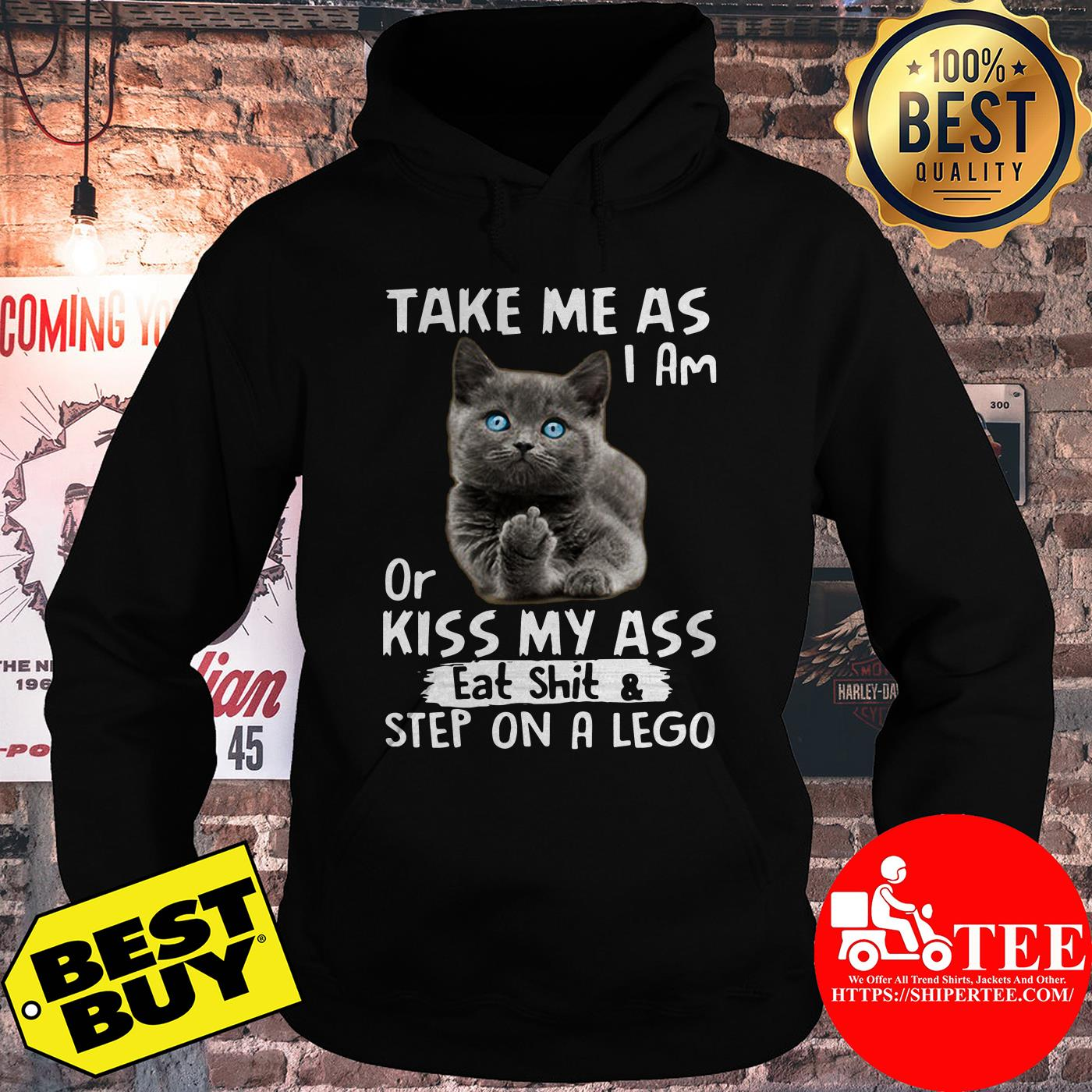 Take me as I am or kiss my ass eat shit & step on a lego hoodie