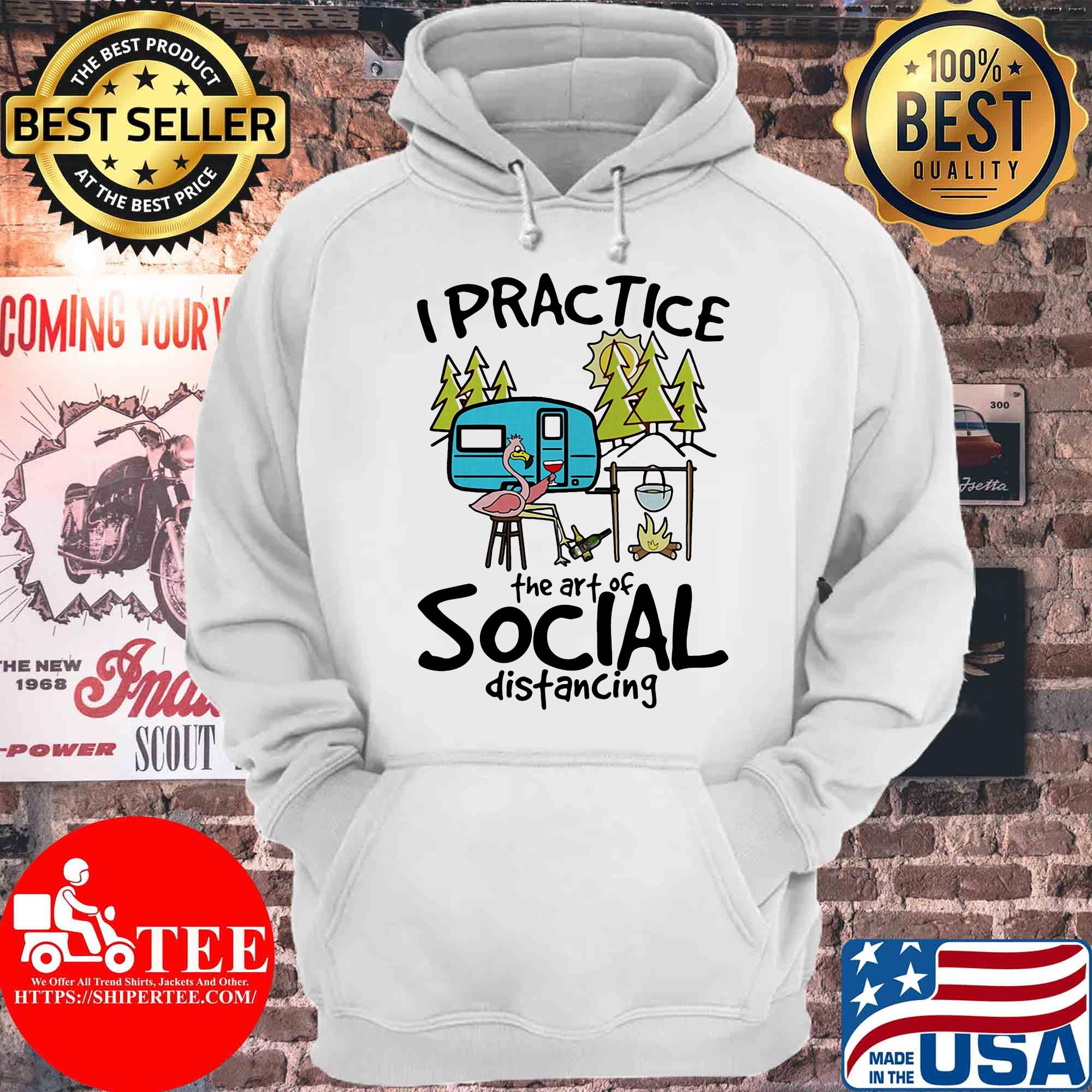 I practice the art of social distancing Camping flamingo s Hoodie