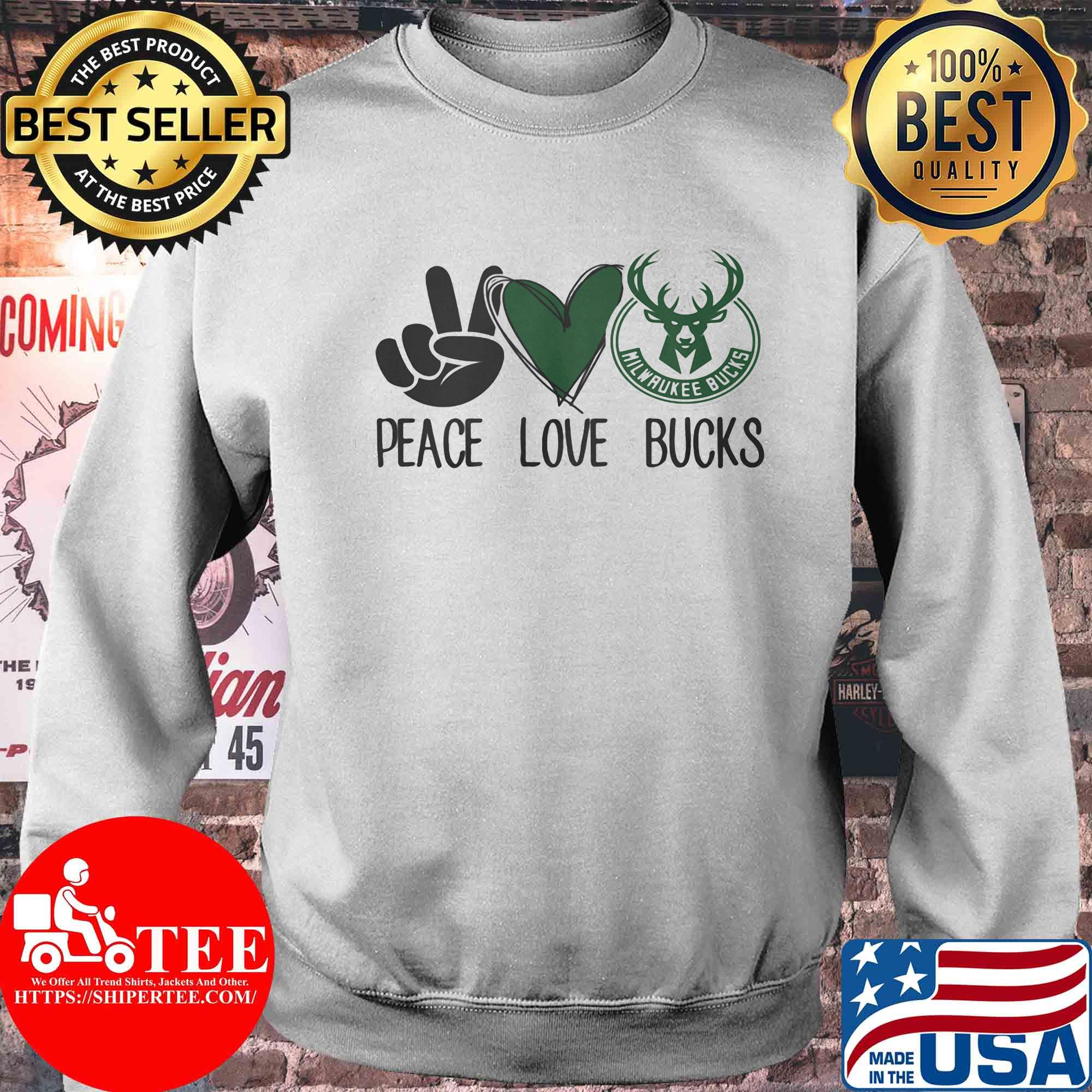 Peace love milwaukee bucks shirt