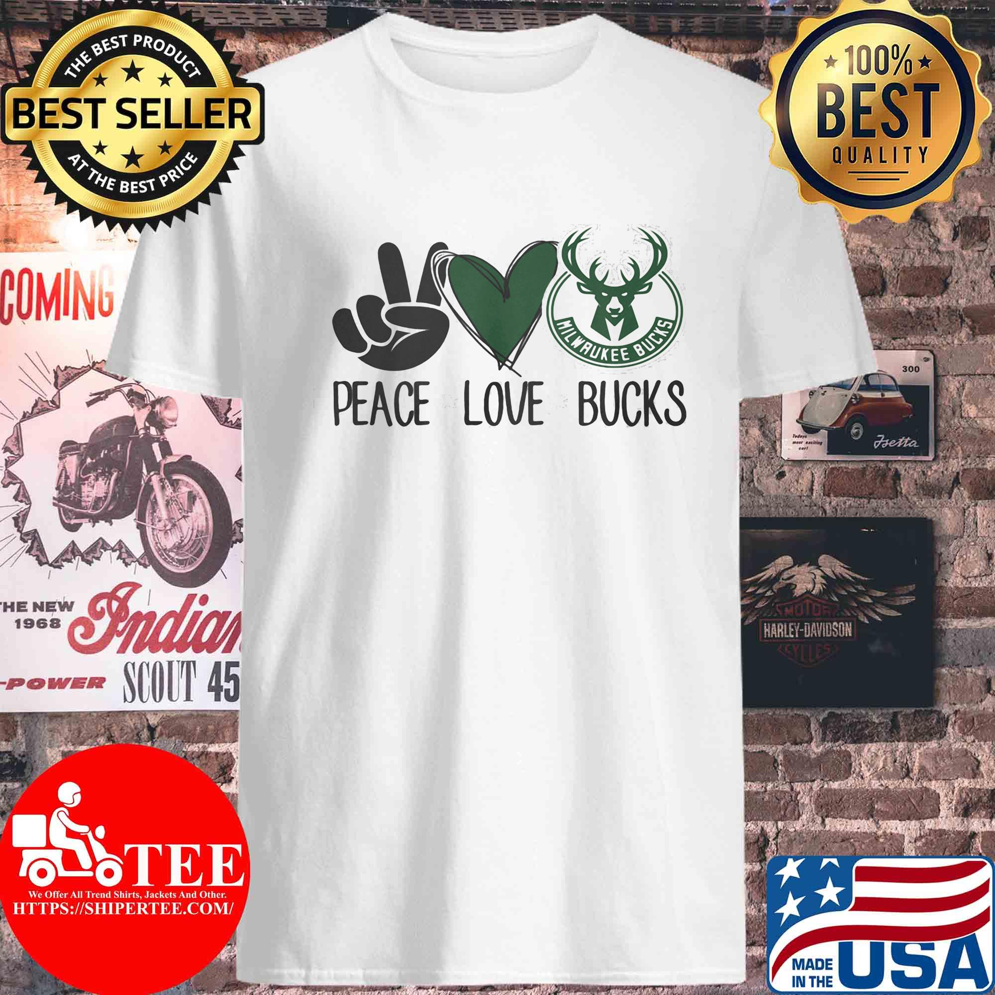 Peace love milwaukee bucks s Unisex